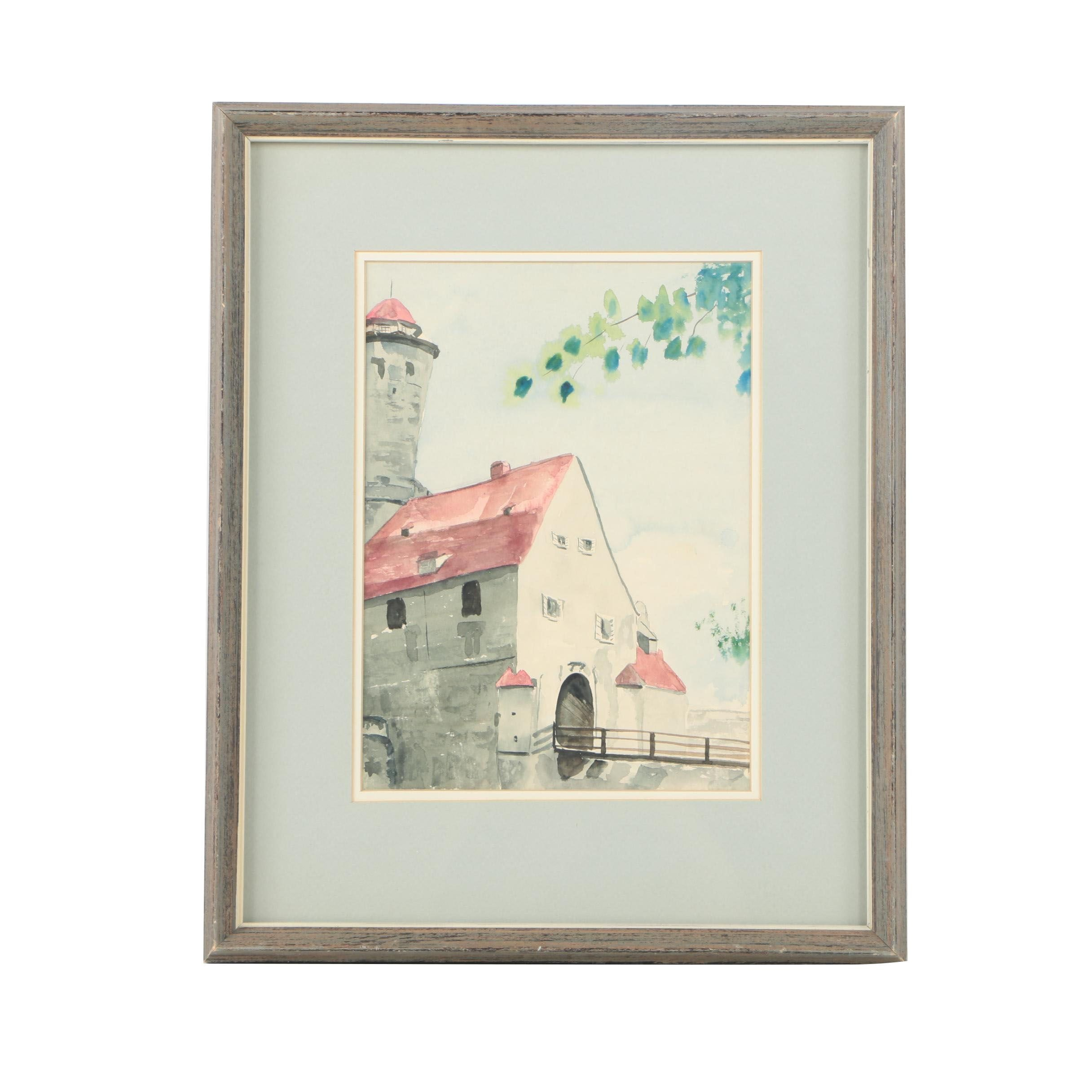 Watercolor Painting on Paper of Castle Entry