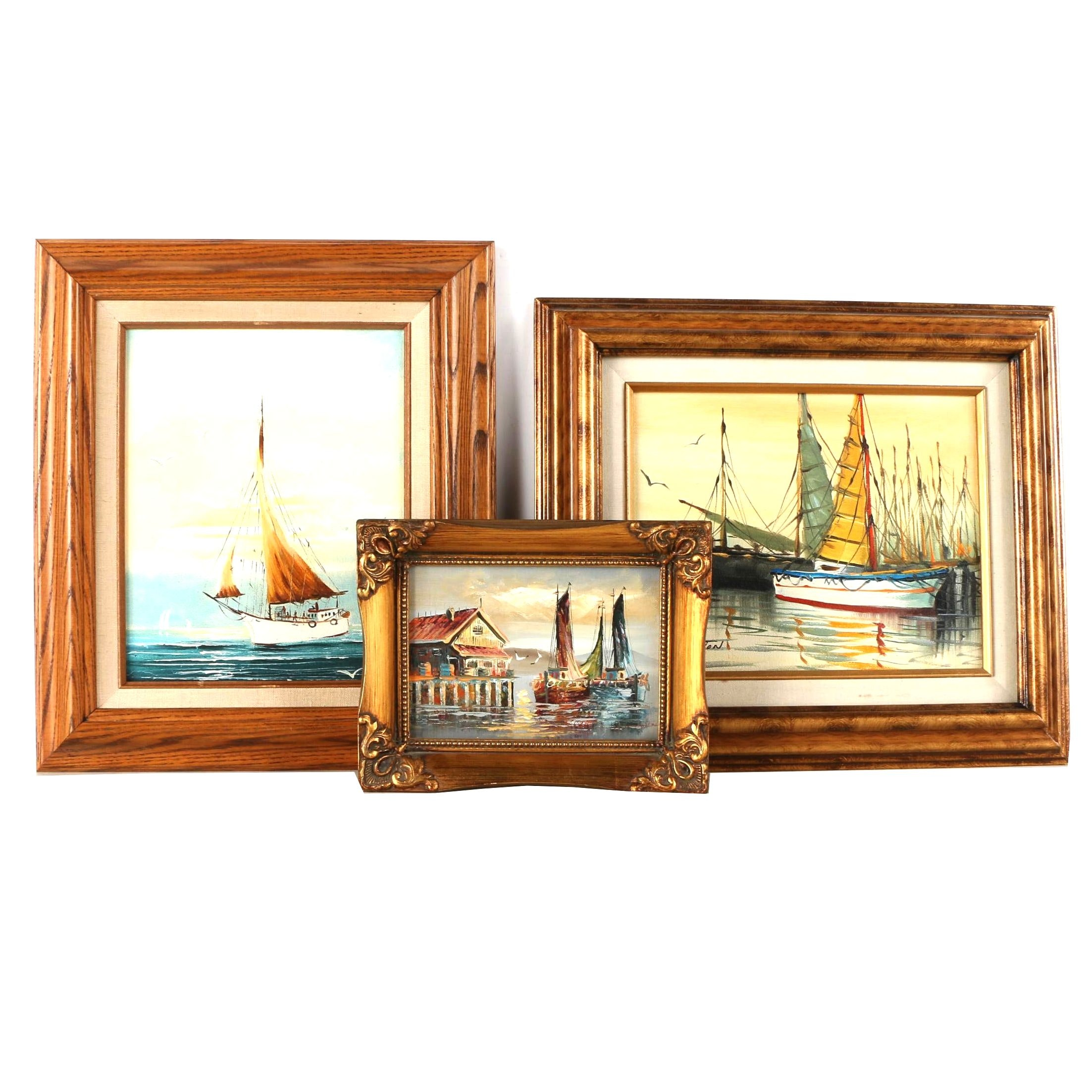 M. Hozana and S. Wooton Oil Paintings on Canvas of Sailboats