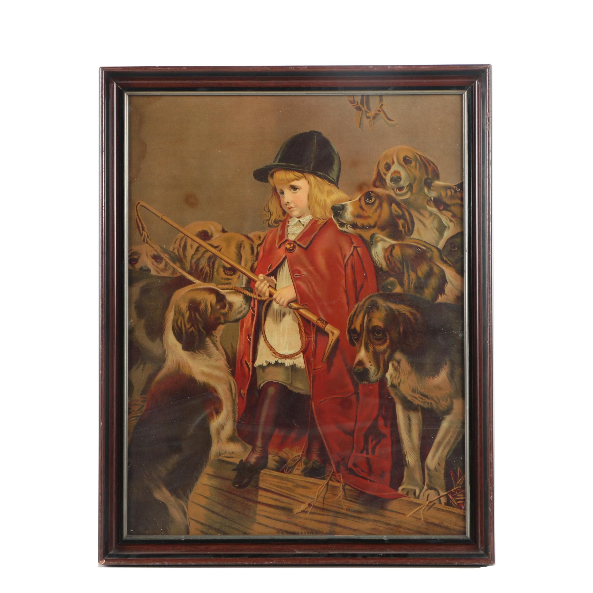 """Framed Lithograph on Paper """"The Young Hunter"""""""
