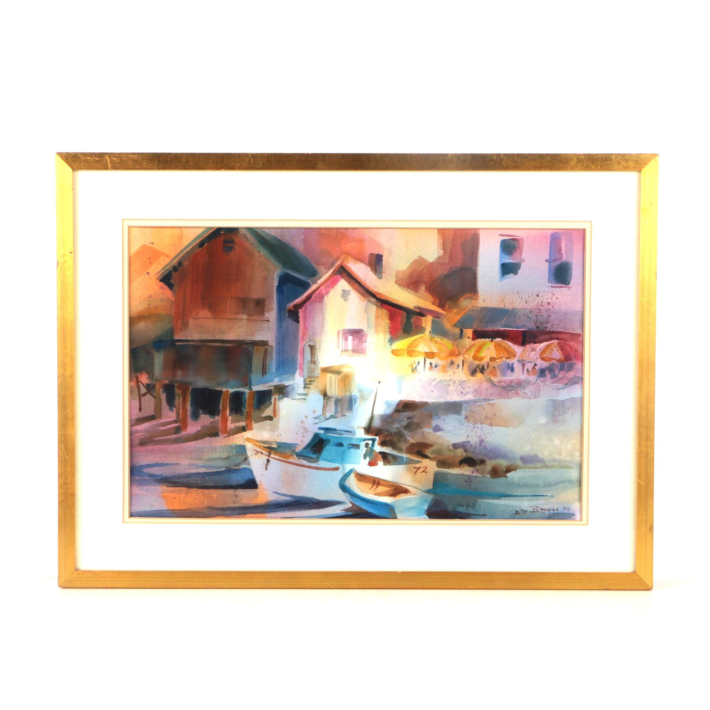 Betty DeMaree Watercolor Painting on Paper of a Harbor
