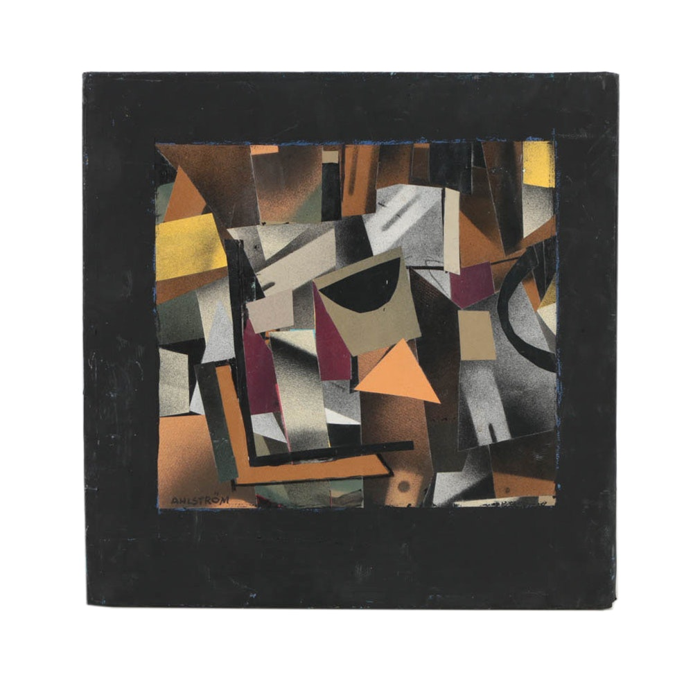 """Ronald Ahlstrom Mixed Media on Canvas """"Untitled"""""""
