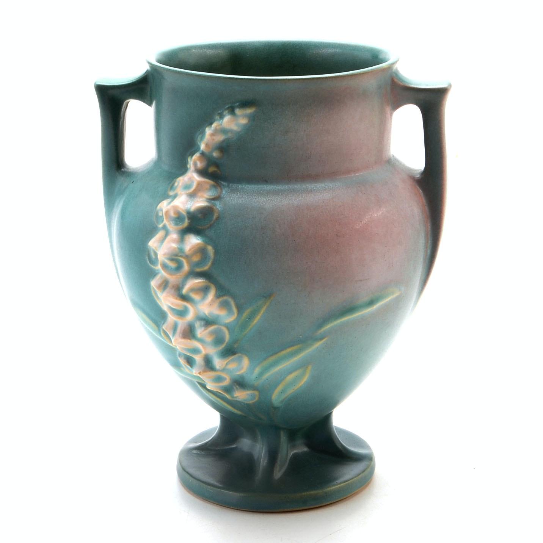 """Roseville Art Pottery """"Foxglove"""" Double-Handled Vase"""