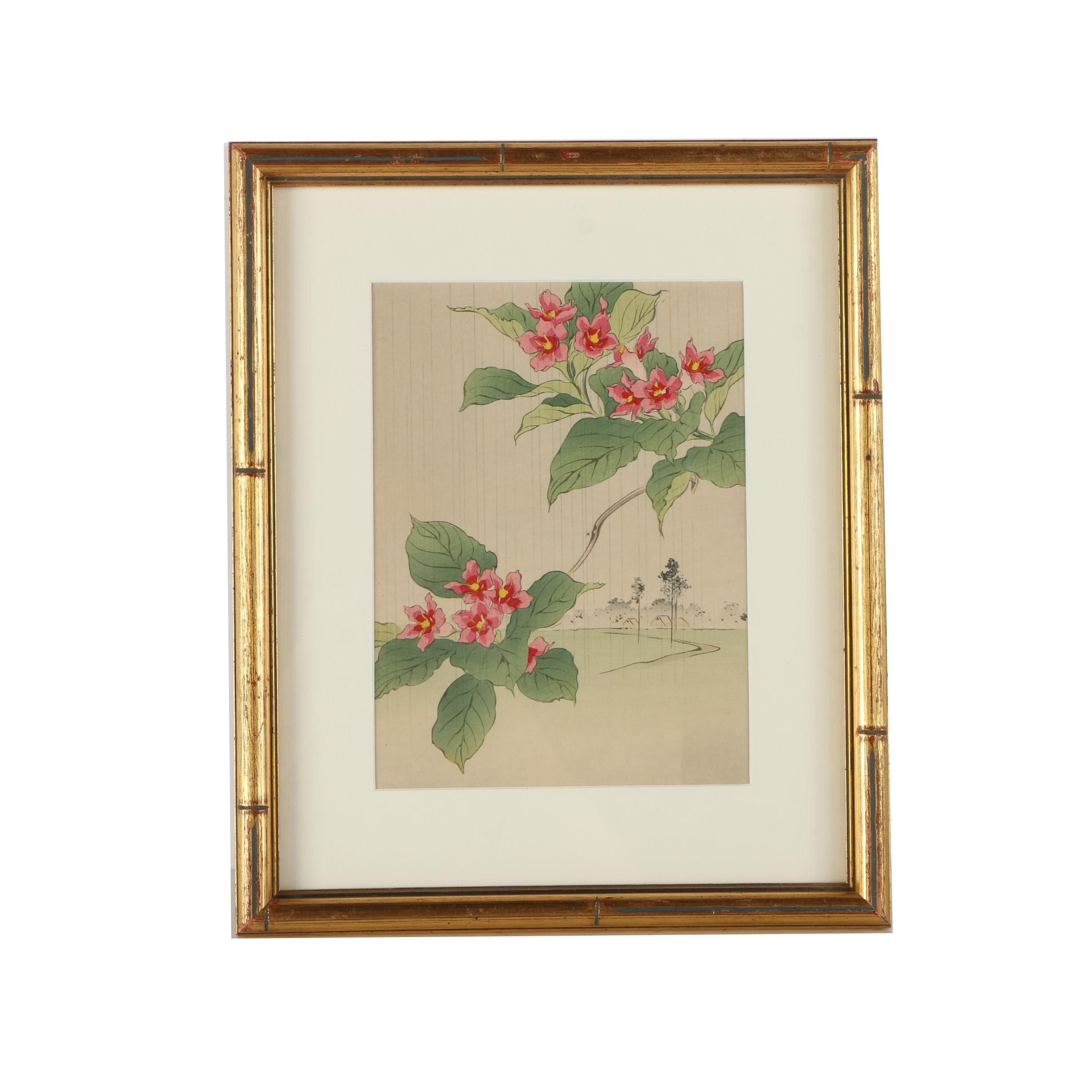 East Asian Style Hand-Colored Woodblock Print on Paper of Weigela