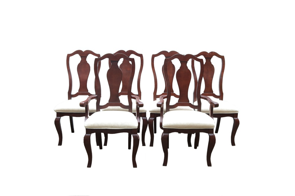 Upholstered Mahogany Queen Anne Dining Chairs