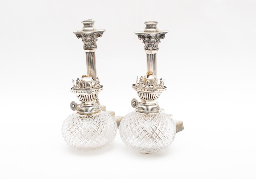 Vintage Plated Silver Candlesticks With Glass and Plated Silver Peg Lamps
