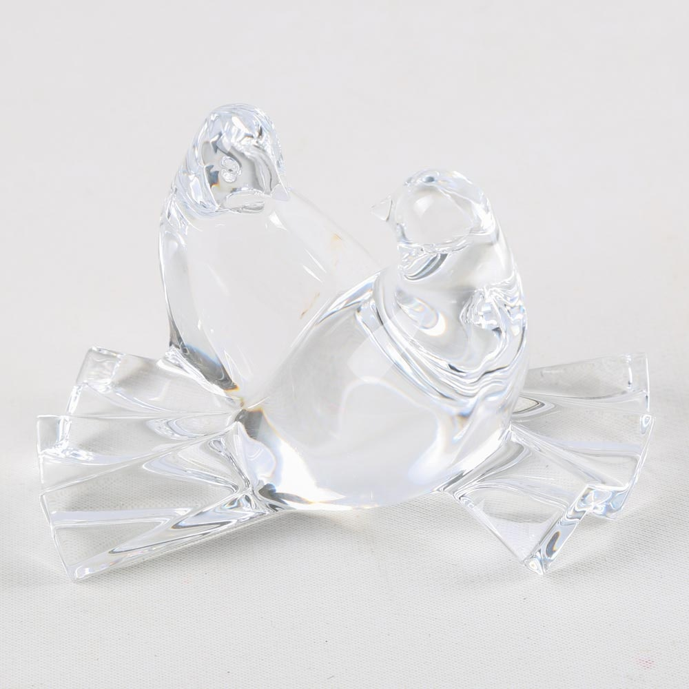 "Baccarat Crystal ""Loving Doves"" Figurine"