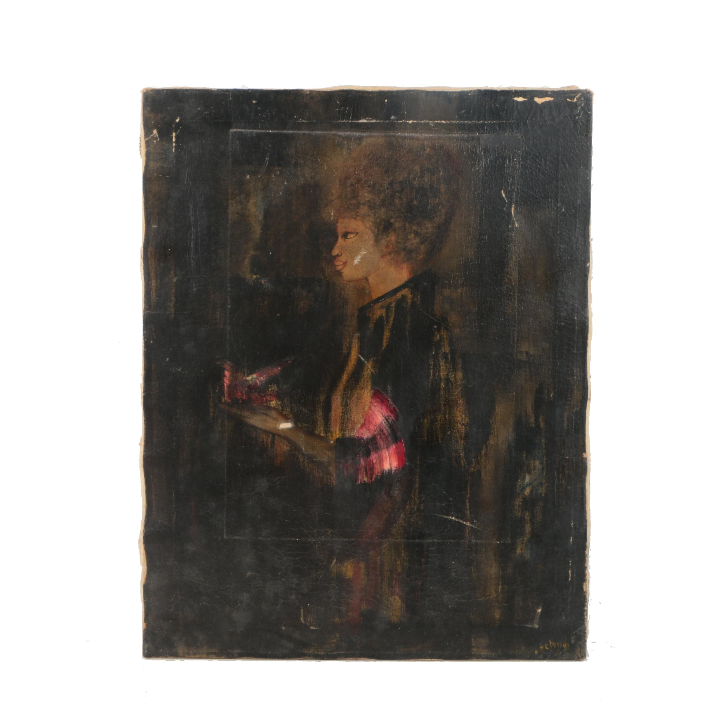 DePersiis Mid-Century Oil Painting on Canvas of Woman Walking in Side Profile