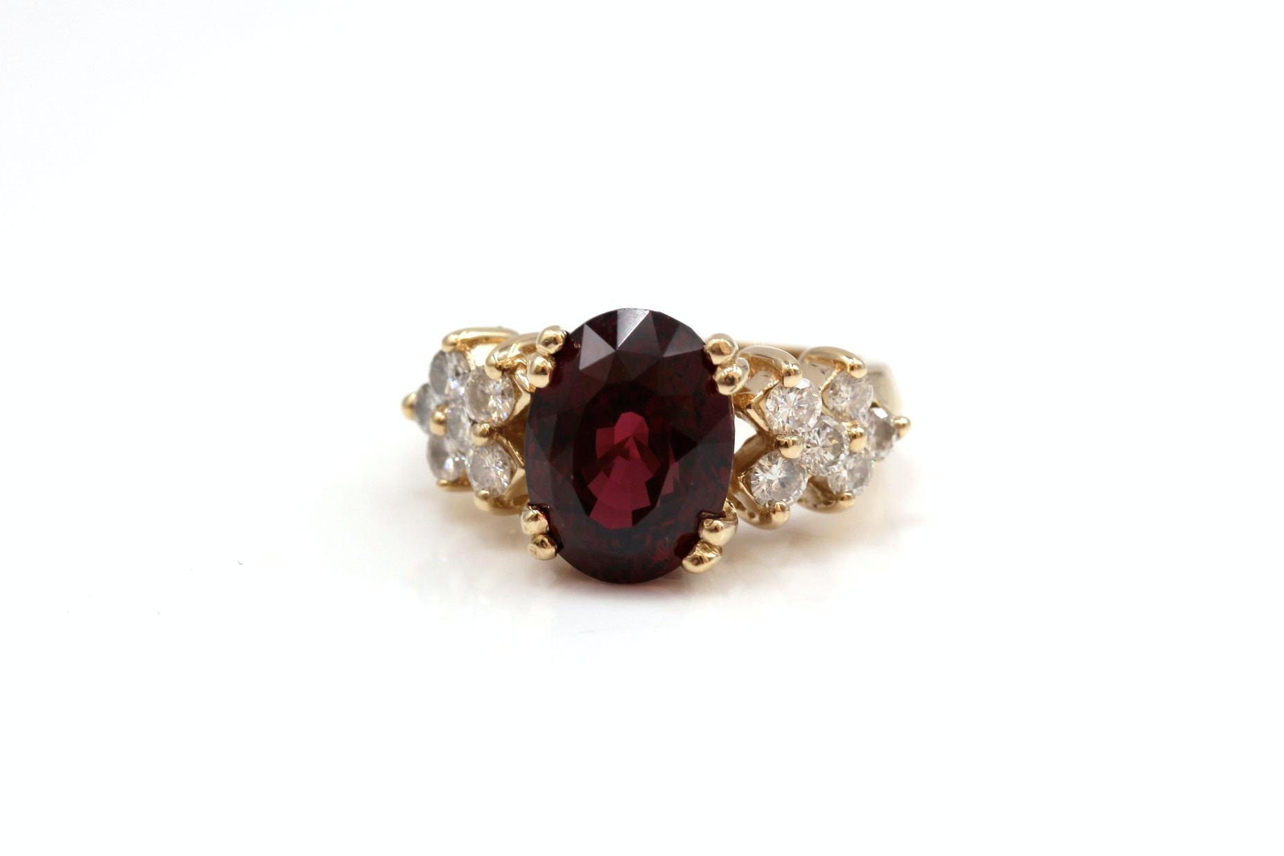 14K Yellow Gold 6.75 CTS Garnet and Diamond Ring