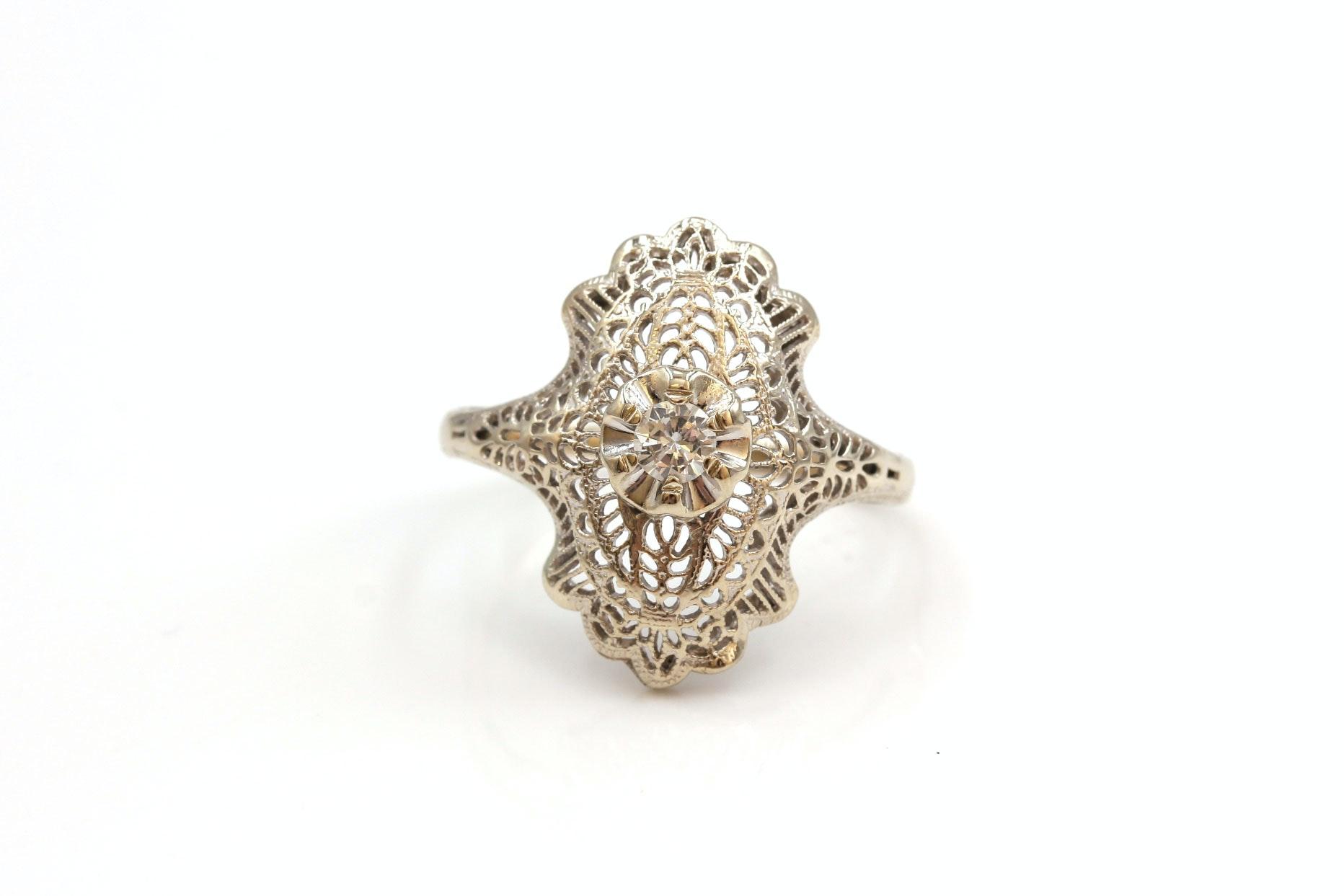 Vintage 14K White Gold Diamond Solitaire Ring