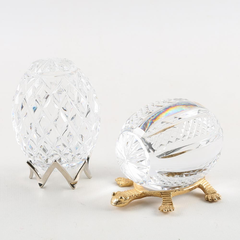 Tyrone Crystal Egg Paperweights