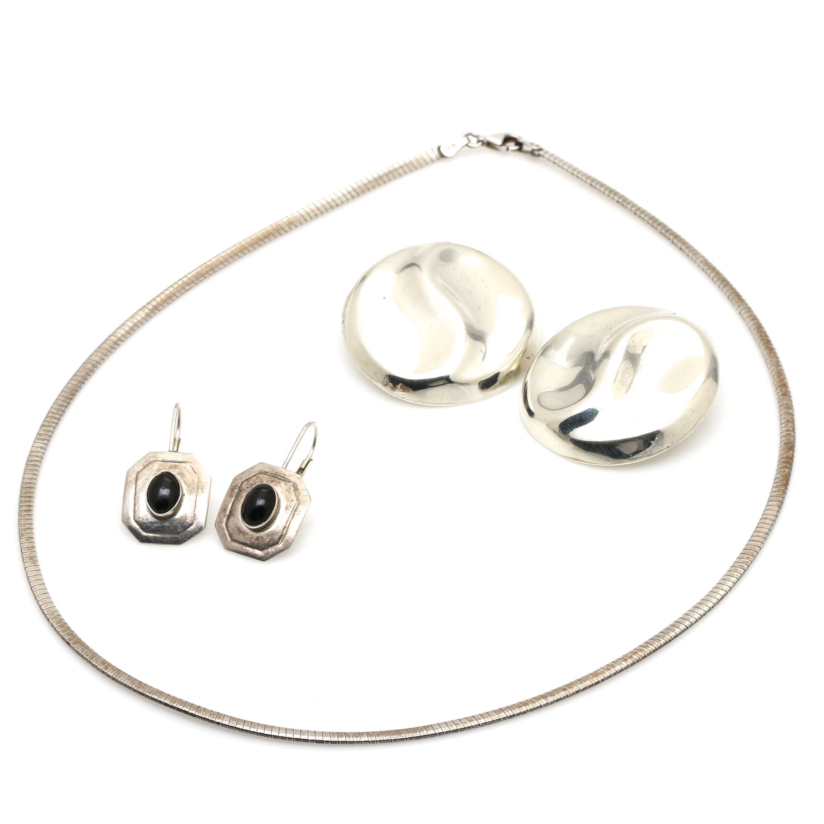 Sterling Silver Earrings and Necklace Including Taxco