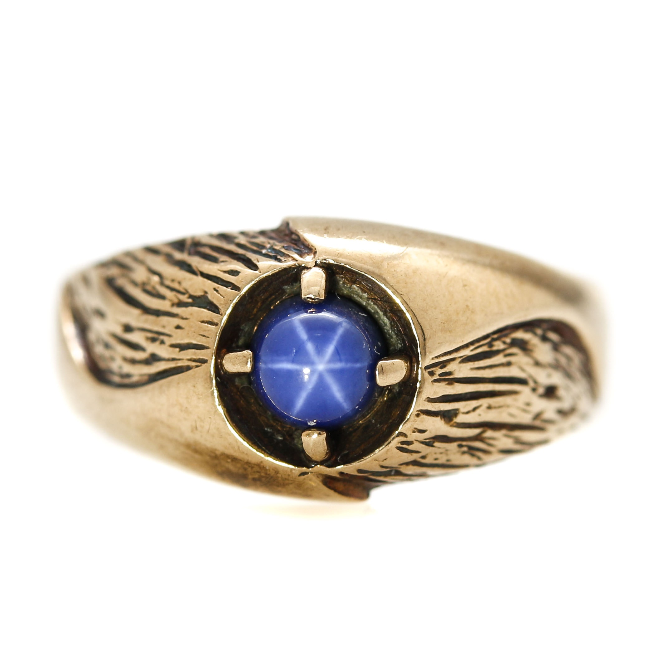Zales 10K Yellow Gold Synthetic Star Sapphire Ring