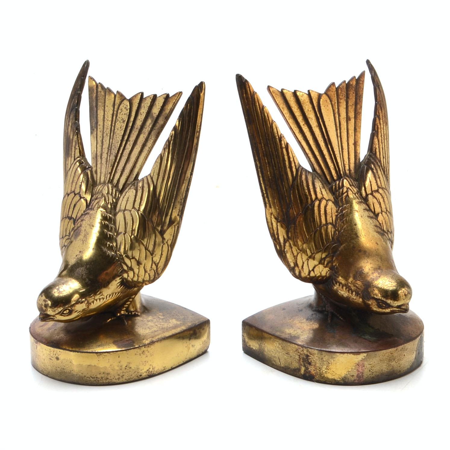 Pair of Brass Figural Bird Bookends