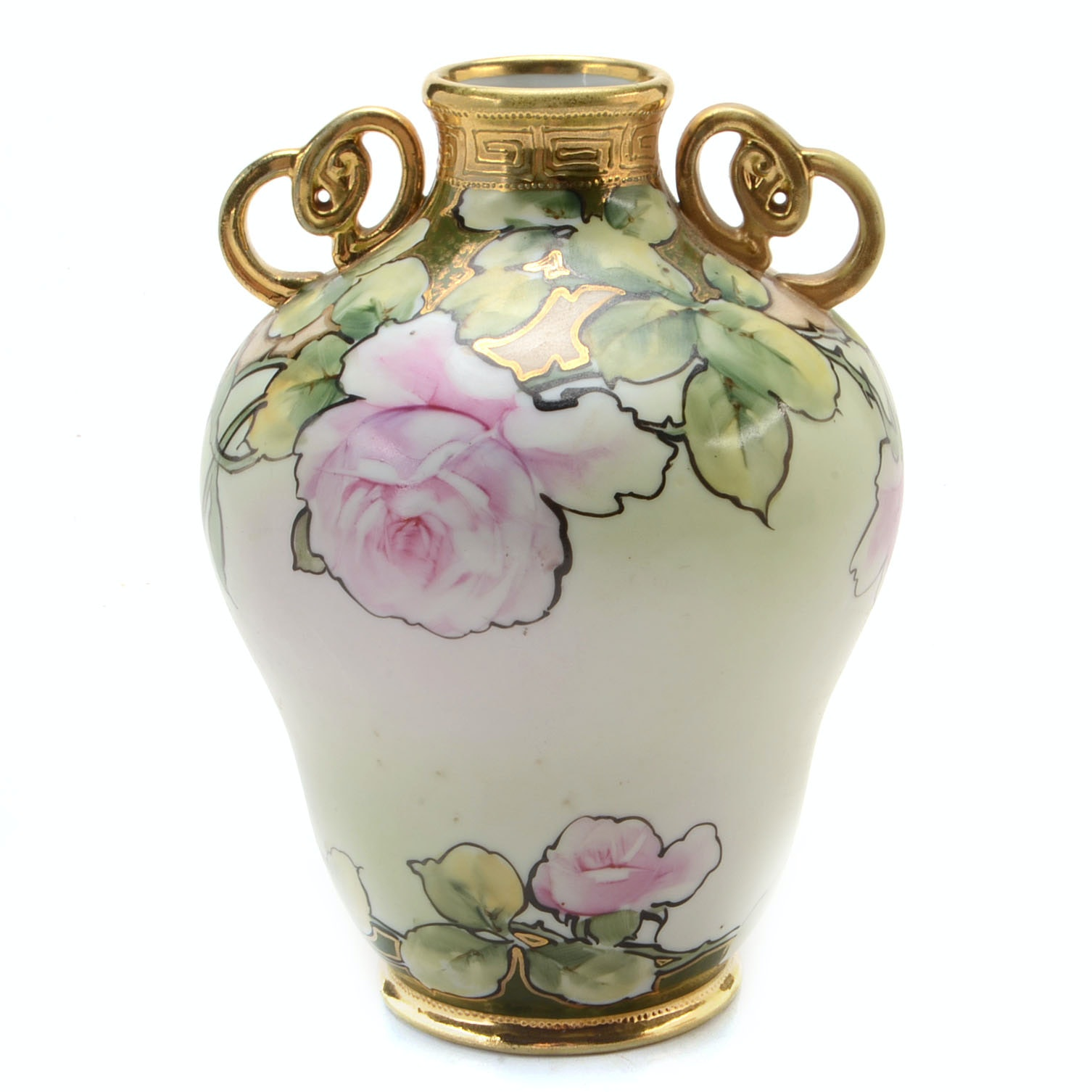 Vintage Nippon Hand-Painted Double-Handled Porcelain Vase