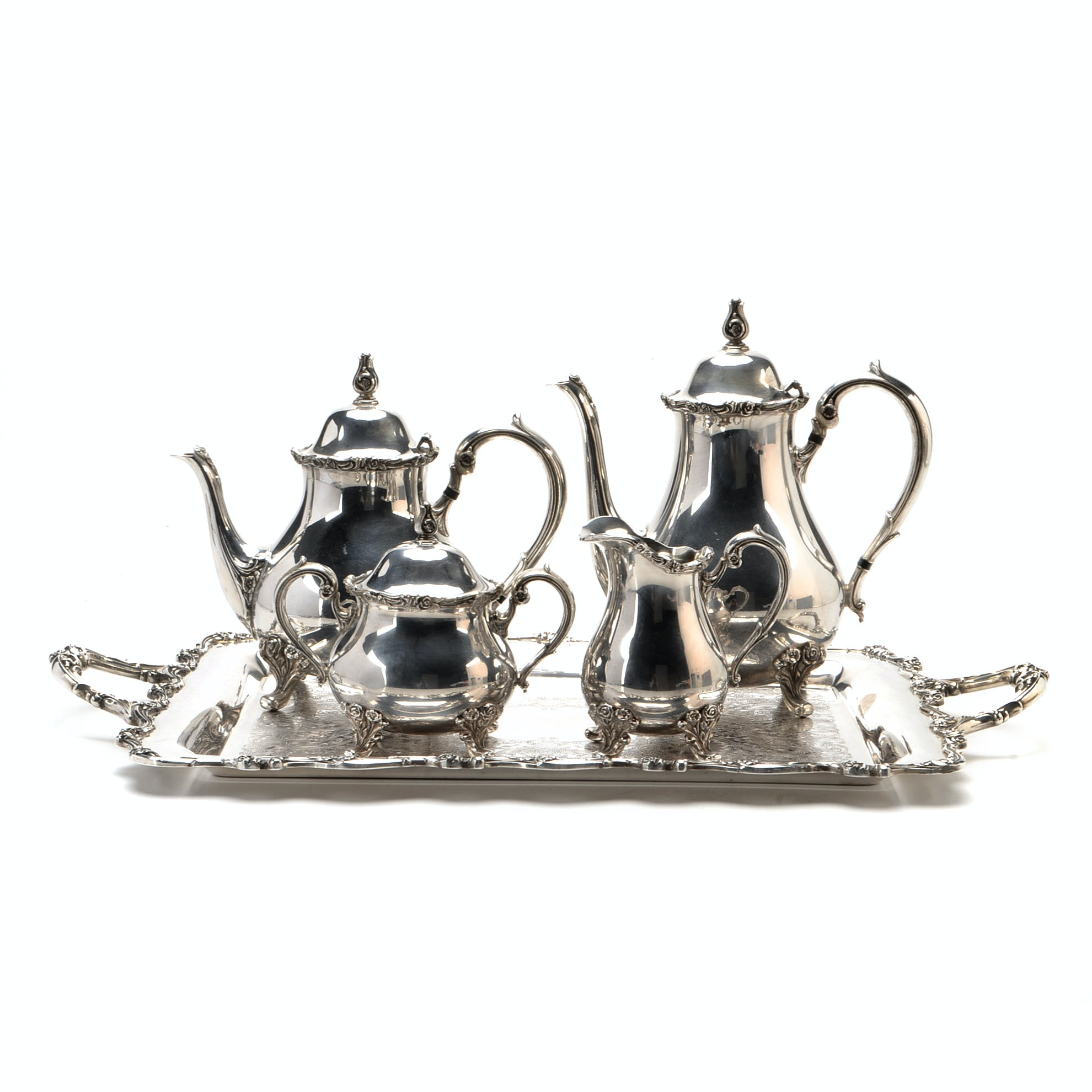 """American Rose"" Silver Plated Tea Service By International Silver"