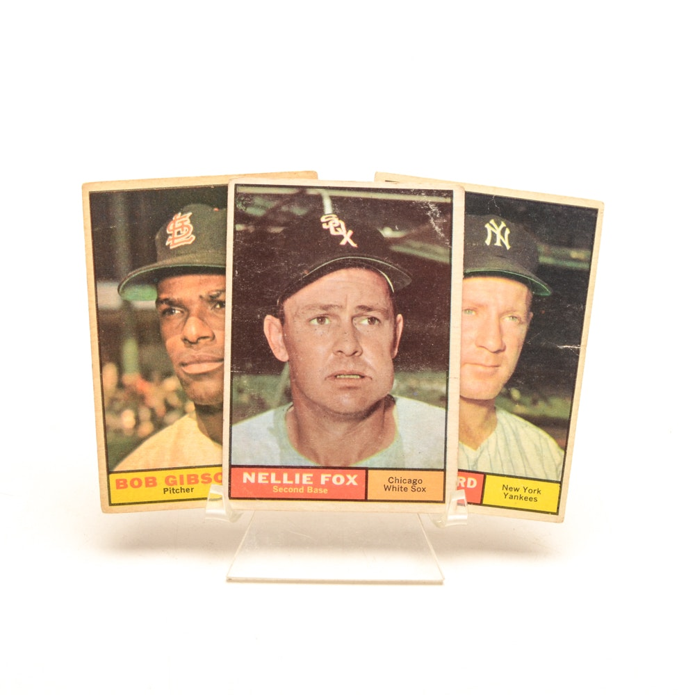 Ford, Gibson, and Fox 1961 Topps Baseball Cards