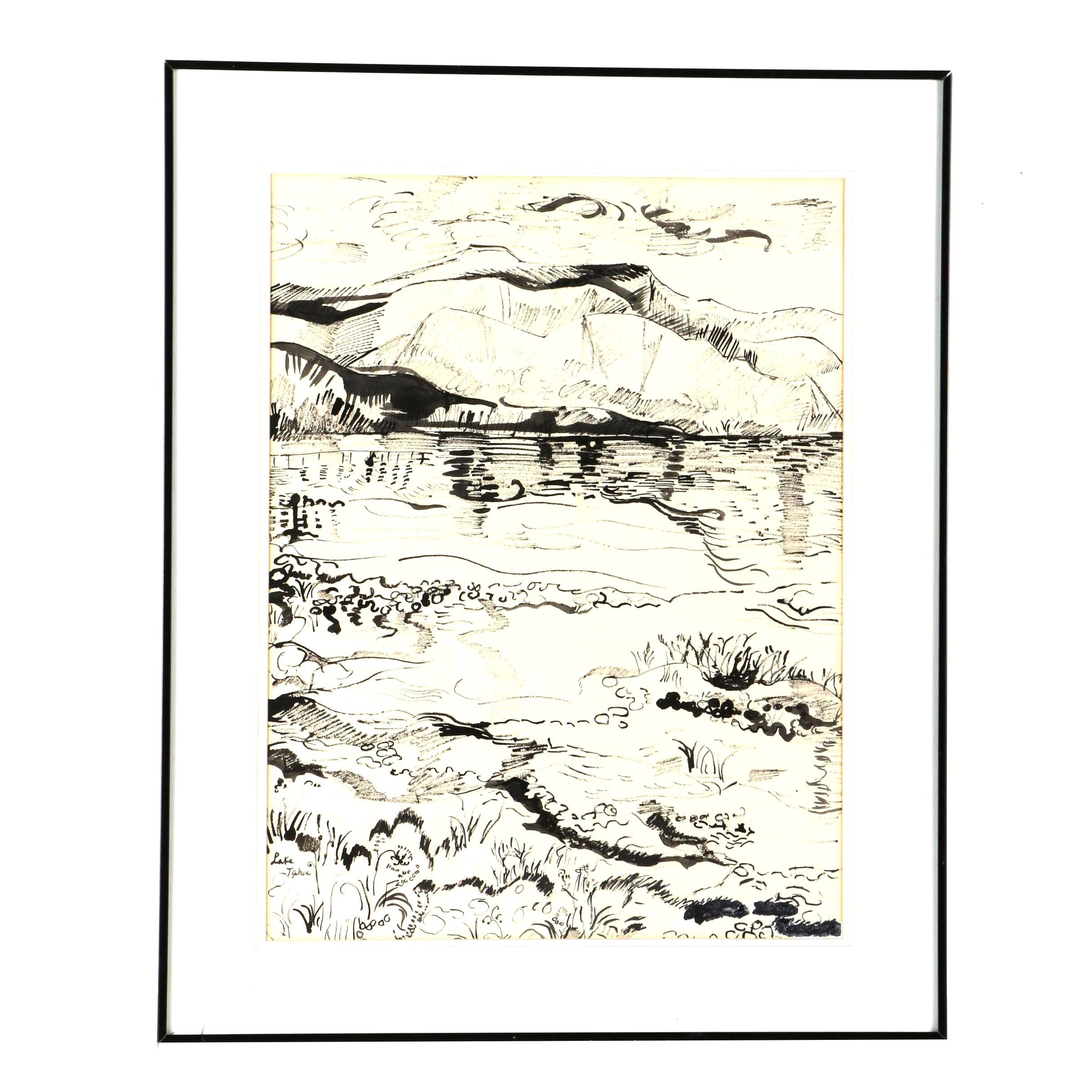 "Ink Drawing on Paper of Landscape ""Lake Tahoe"""