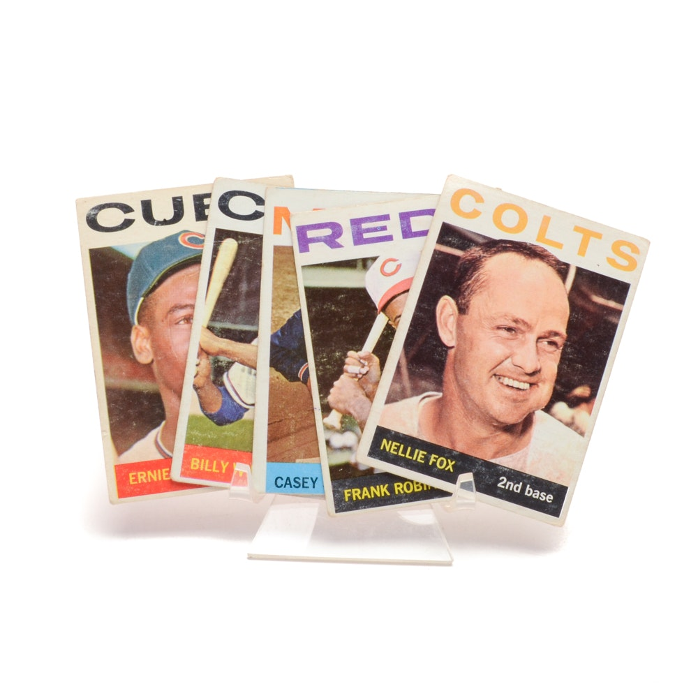 Five 1964 Topps Baseball Cards, All Hall Of Fame Players