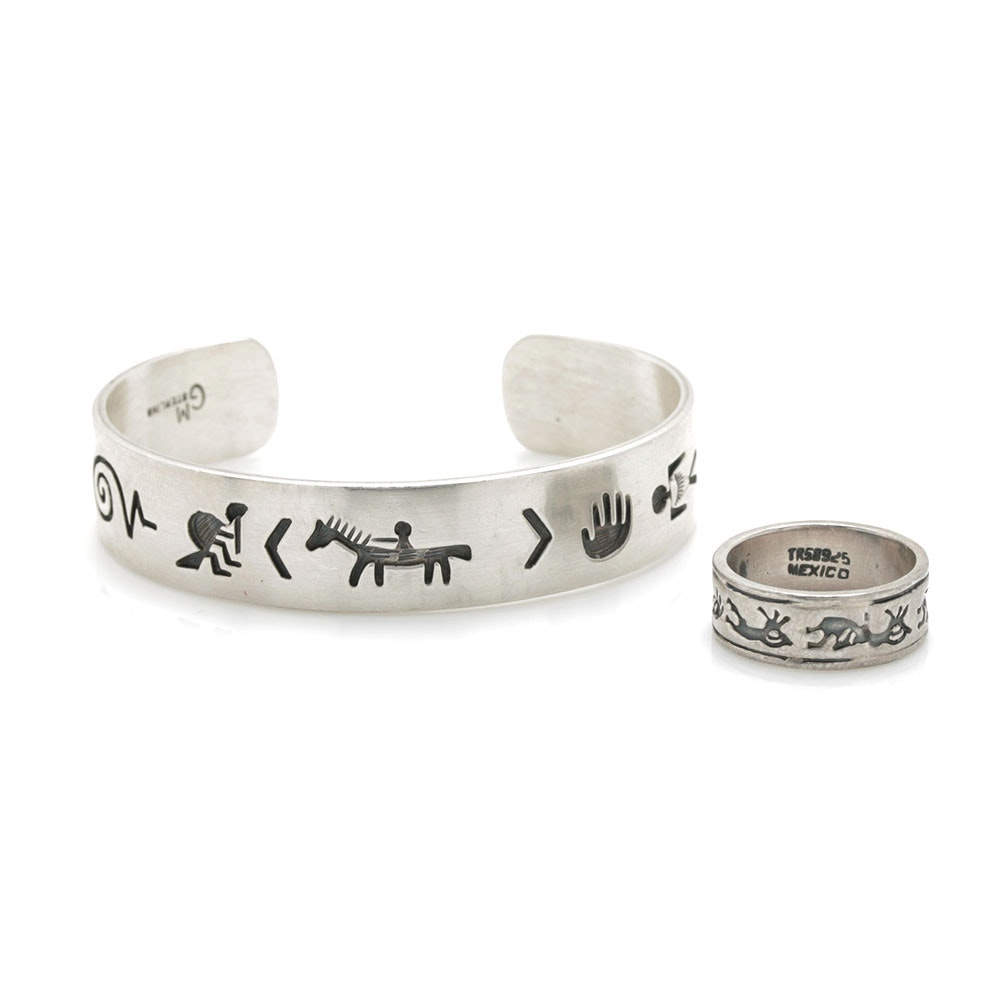 Gerald Mitchell Sterling Silver Navajo Storyteller Cuff With Mexican Silver Kokopelli Band