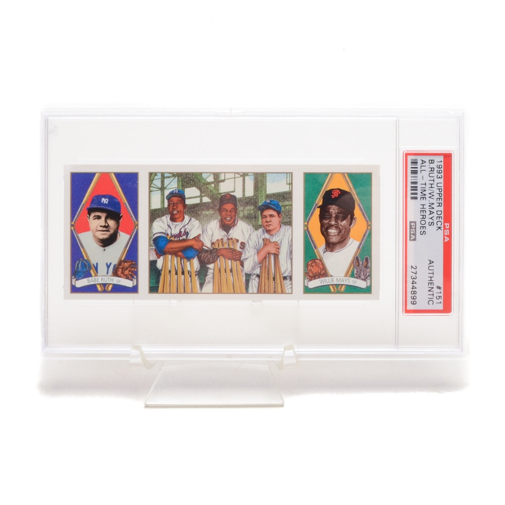 1993 Babe Ruth and Willie Mays Upper Deck Heroes PSA Card