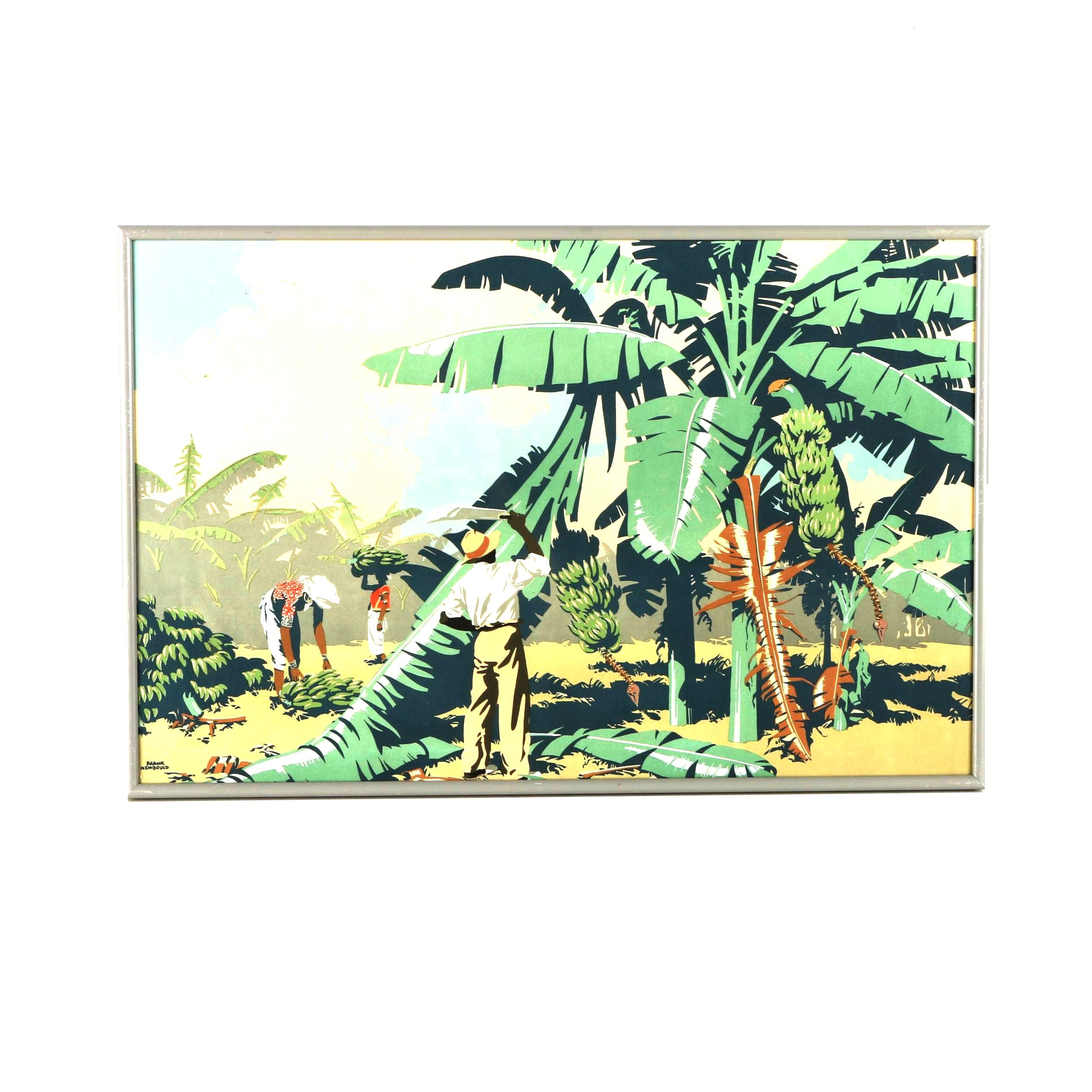 "1930s Color Lithograph After Frank Newbould's ""Cutting Bananas in Jamaica"""