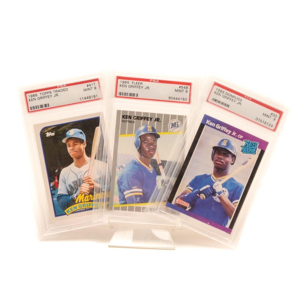 Three 1989 PSA Graded Mint Ken Griffey Rookie Cards