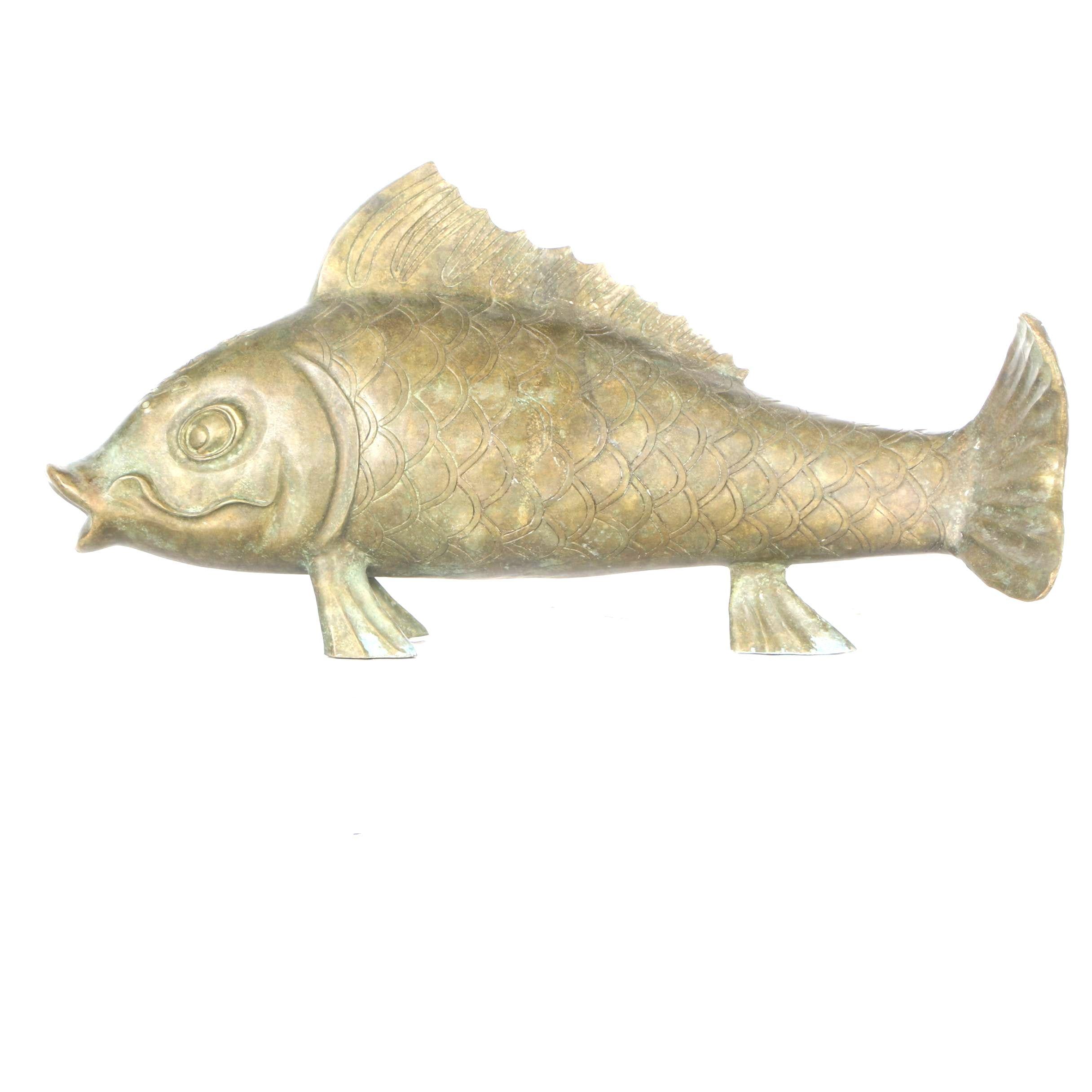 Brass Koi Fish Statuette