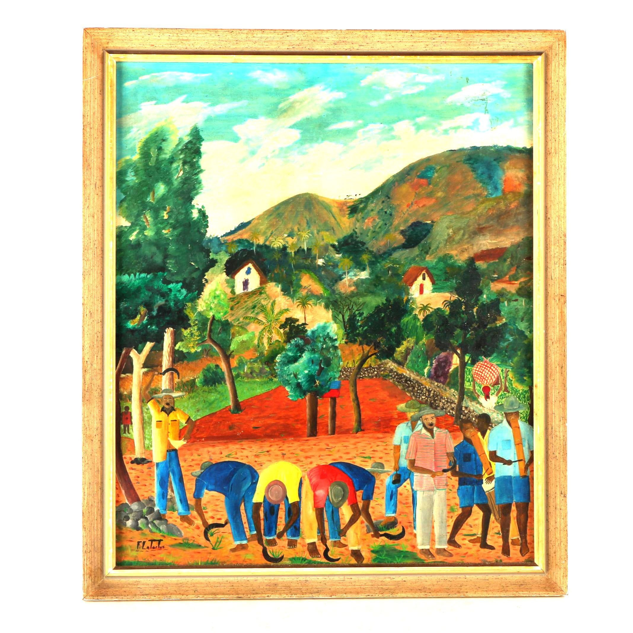 Franklin Latortue Oil Painting on Board of Haitian Farmers