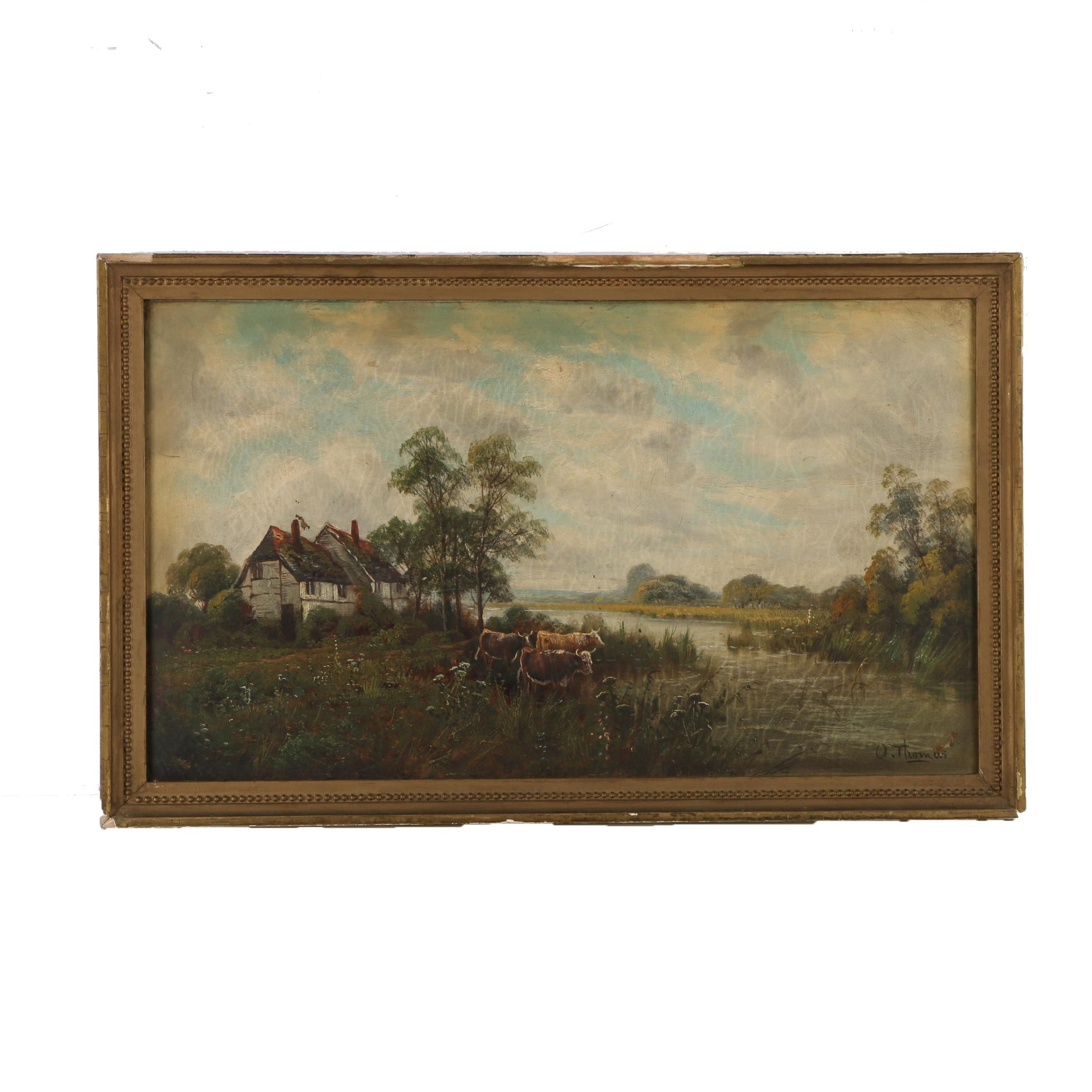 O. Thomas Oil Painting on Canvas Pastoral Landscape