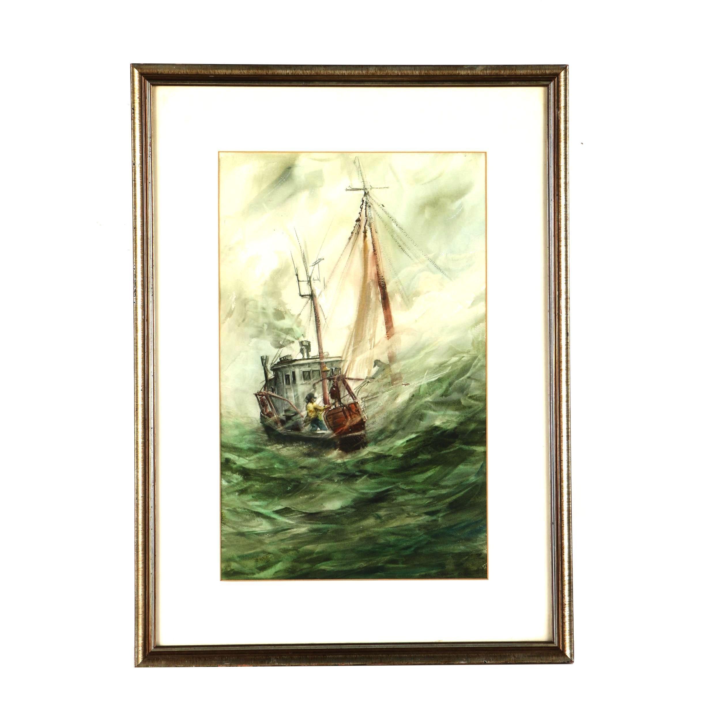 Allen Hawks Watercolor on Paper of a Boat in a Storm