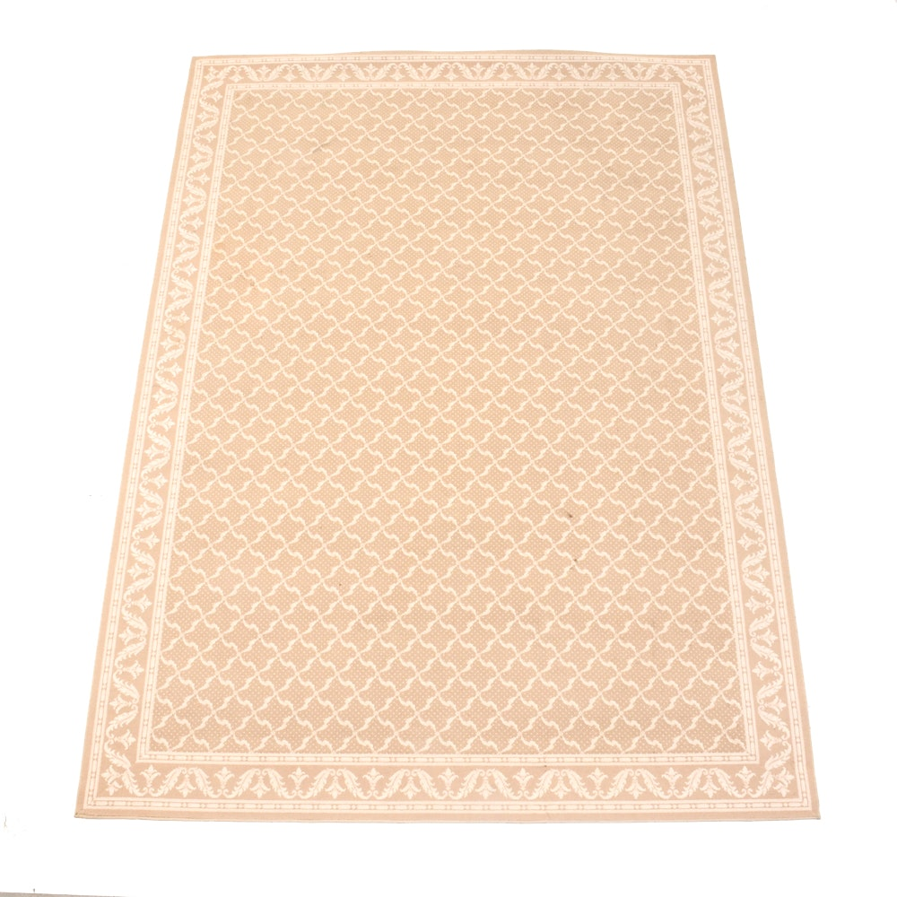 Contemporary Tan and White Area Rug