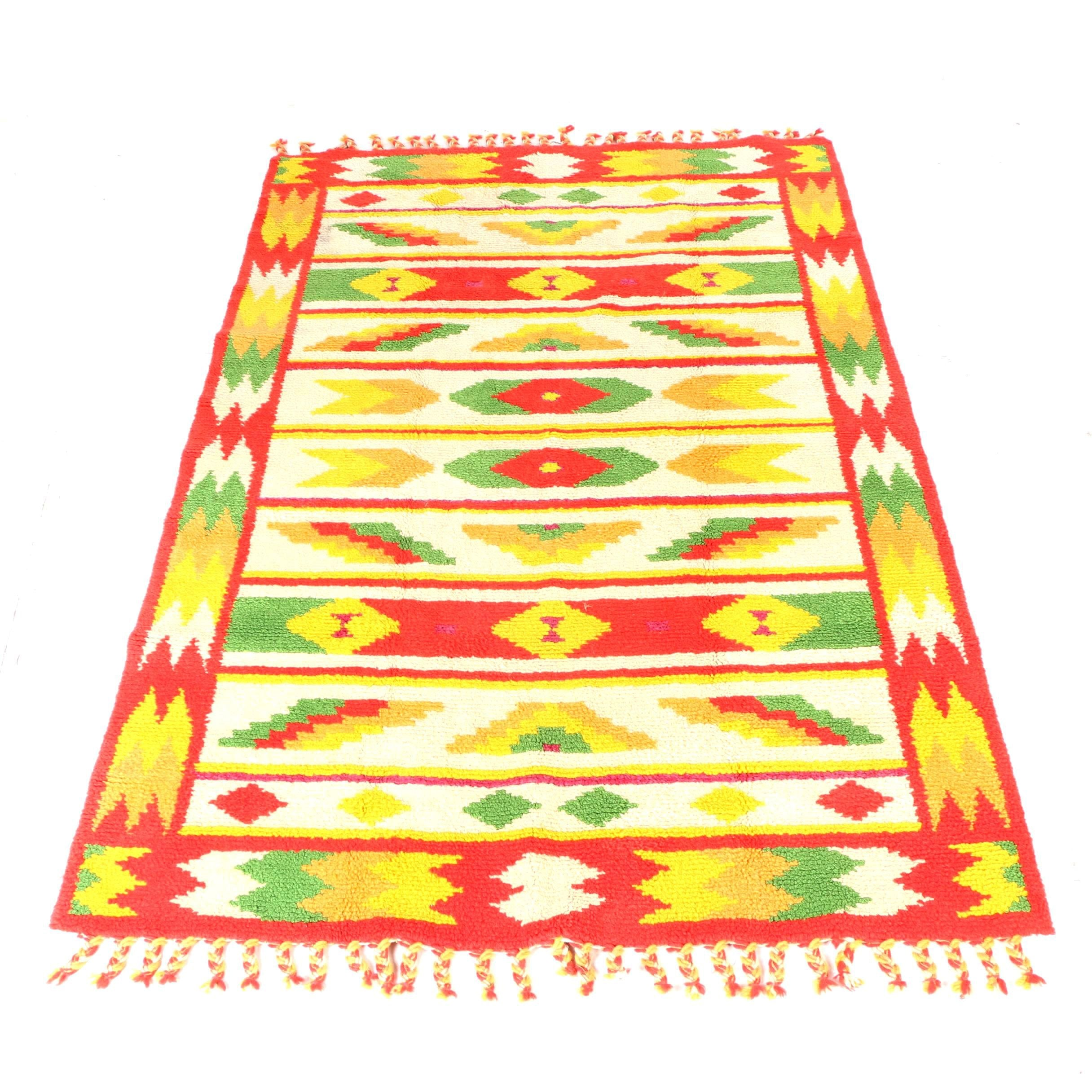 "Hand-Knotted ""Moroccan Bazaar"" Wool Area Rug"