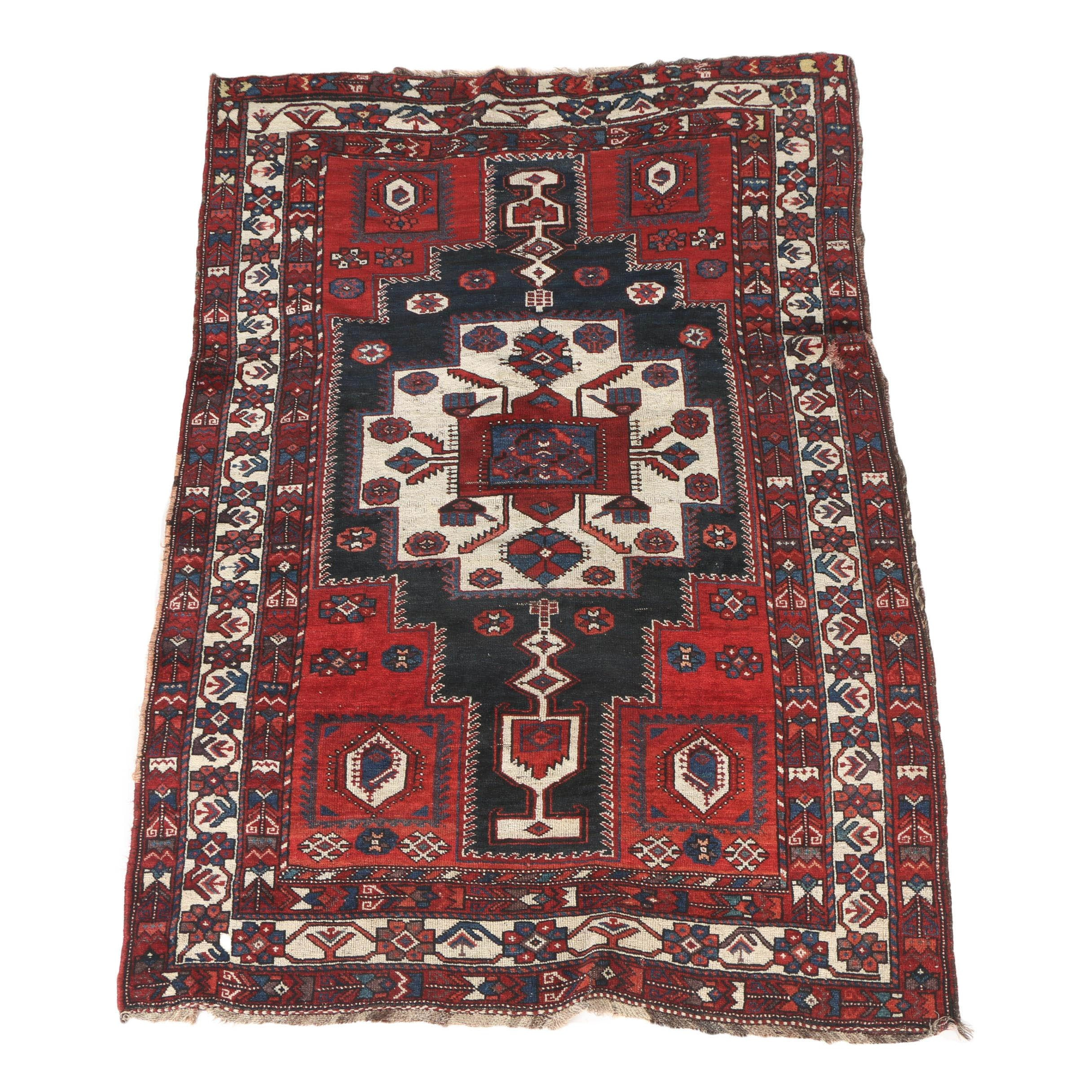 Semi-Antique Hand-Knotted Khamseh or Qashqai Tribal Area Rug