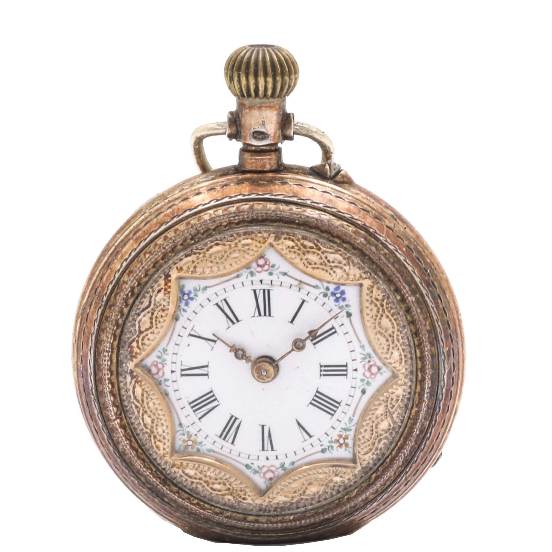 Lady's Vintage 800 Silver Open Dial Pocket Watch