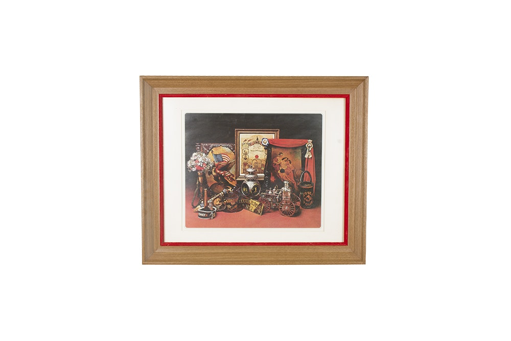 Framed Lithograph on Paper of Firefighter Trophies