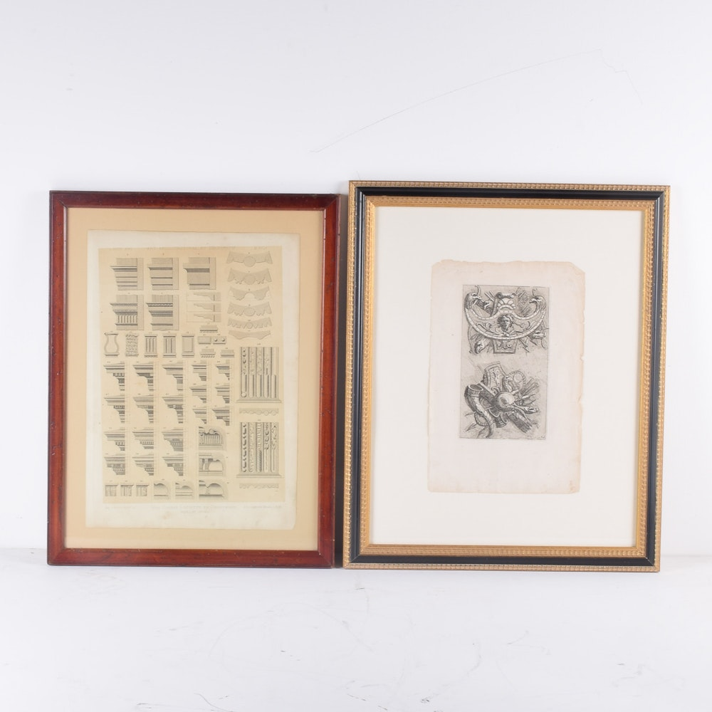Framed Architectural Detail Offset Lithograph Prints