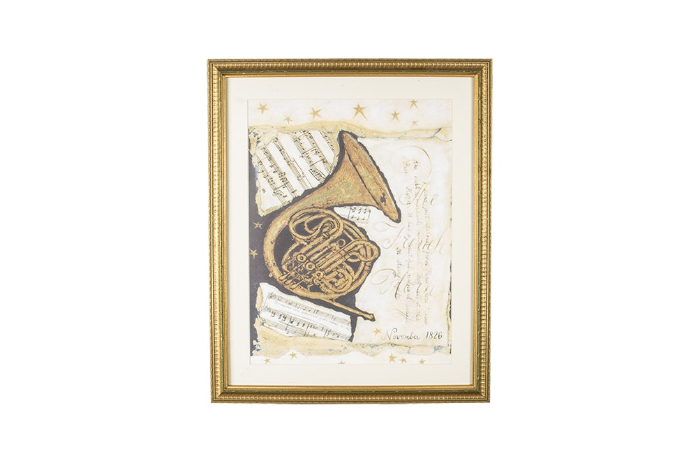 Offset Lithograph on Paper of a French Horn