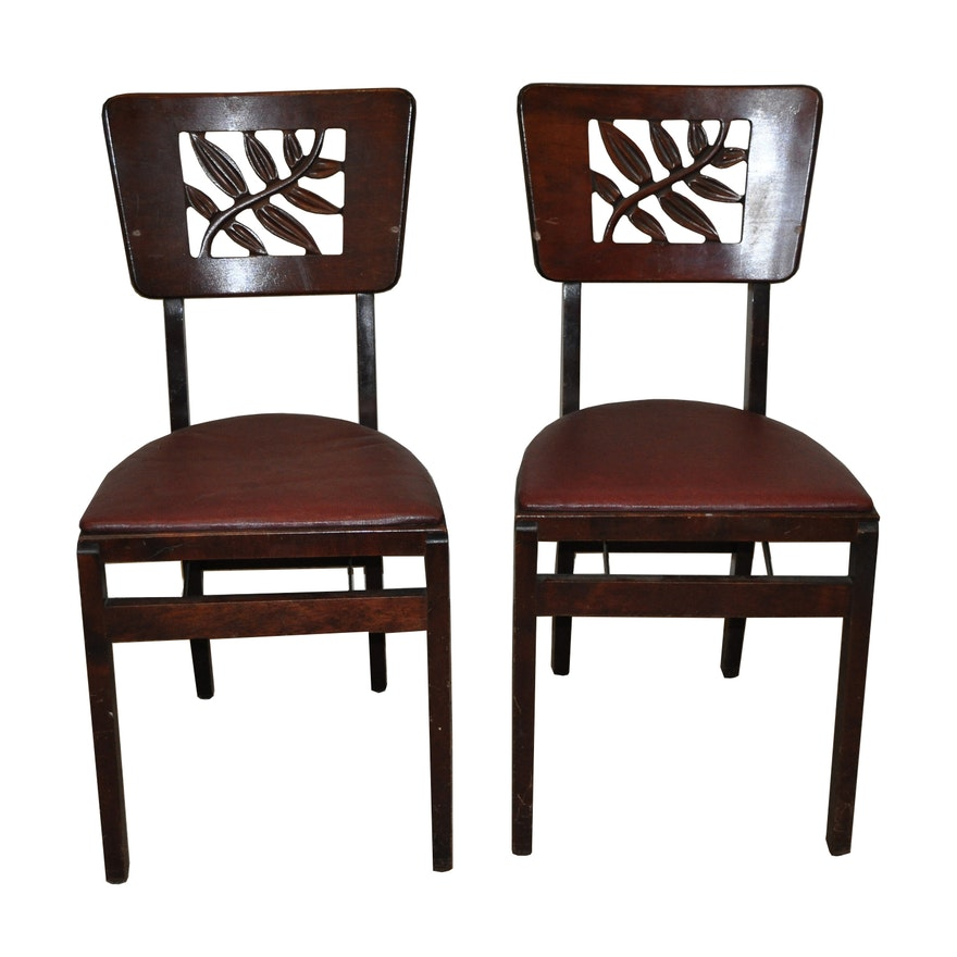 Pair Stakmore Vintage Wooden Folding Chairs