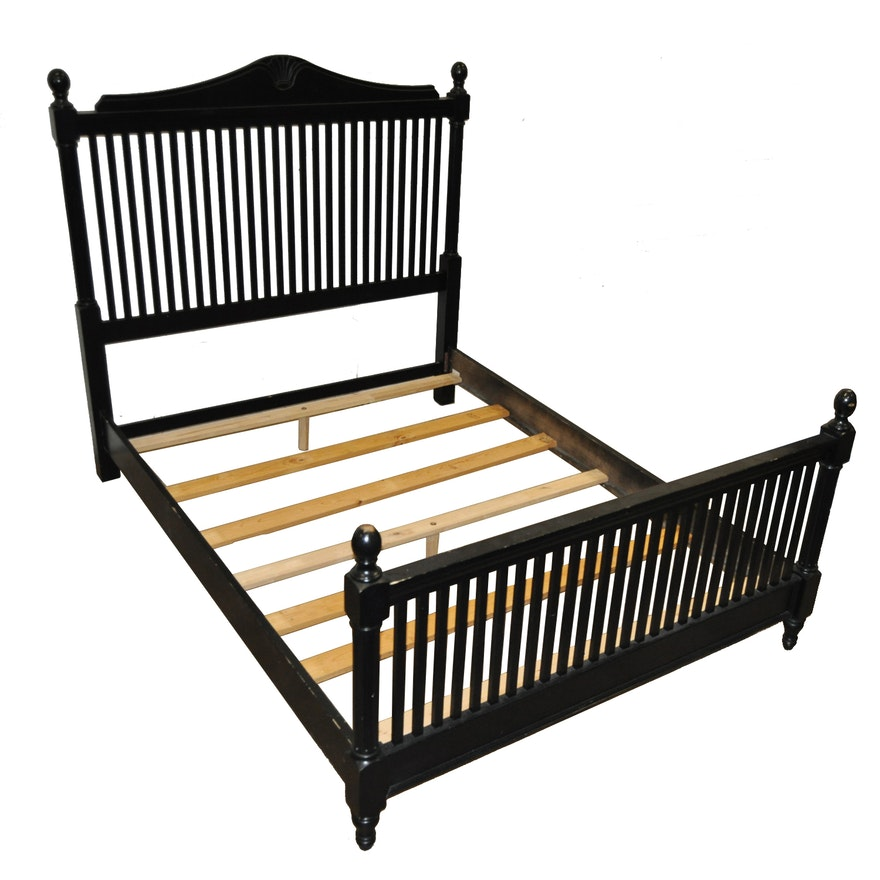 Queen Size Black Painted Wood Bed Frame : EBTH