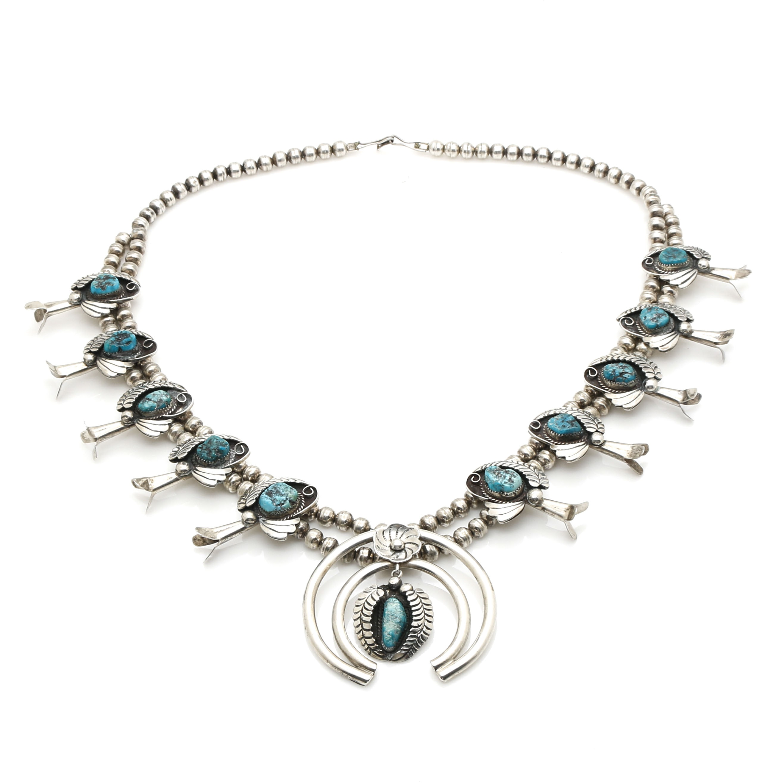 John G. Begay Sterling Silver Turquoise Squash Blossom Naja Necklace