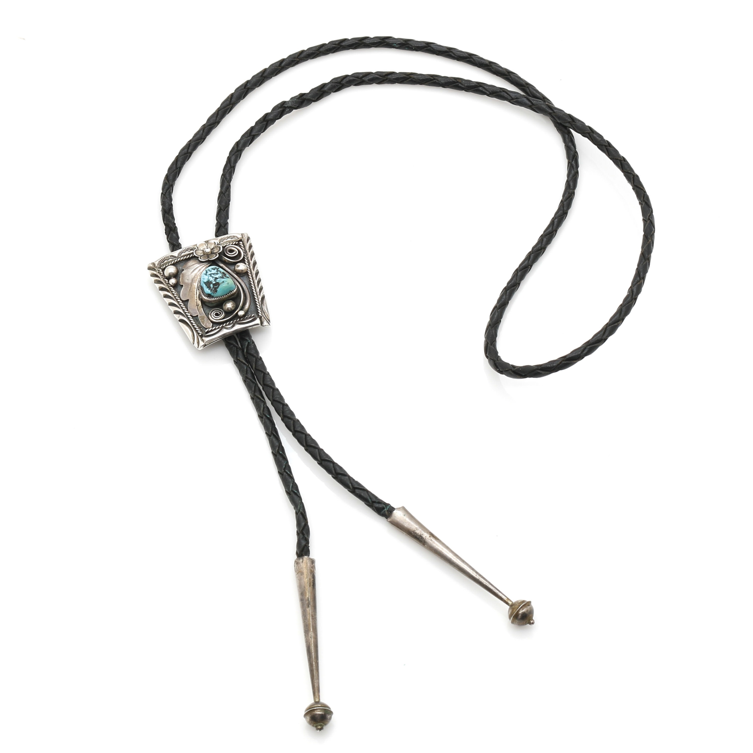 Navajo Sterling Silver Appliqué and Turquoise Bolo Tie by Henry Yazzie