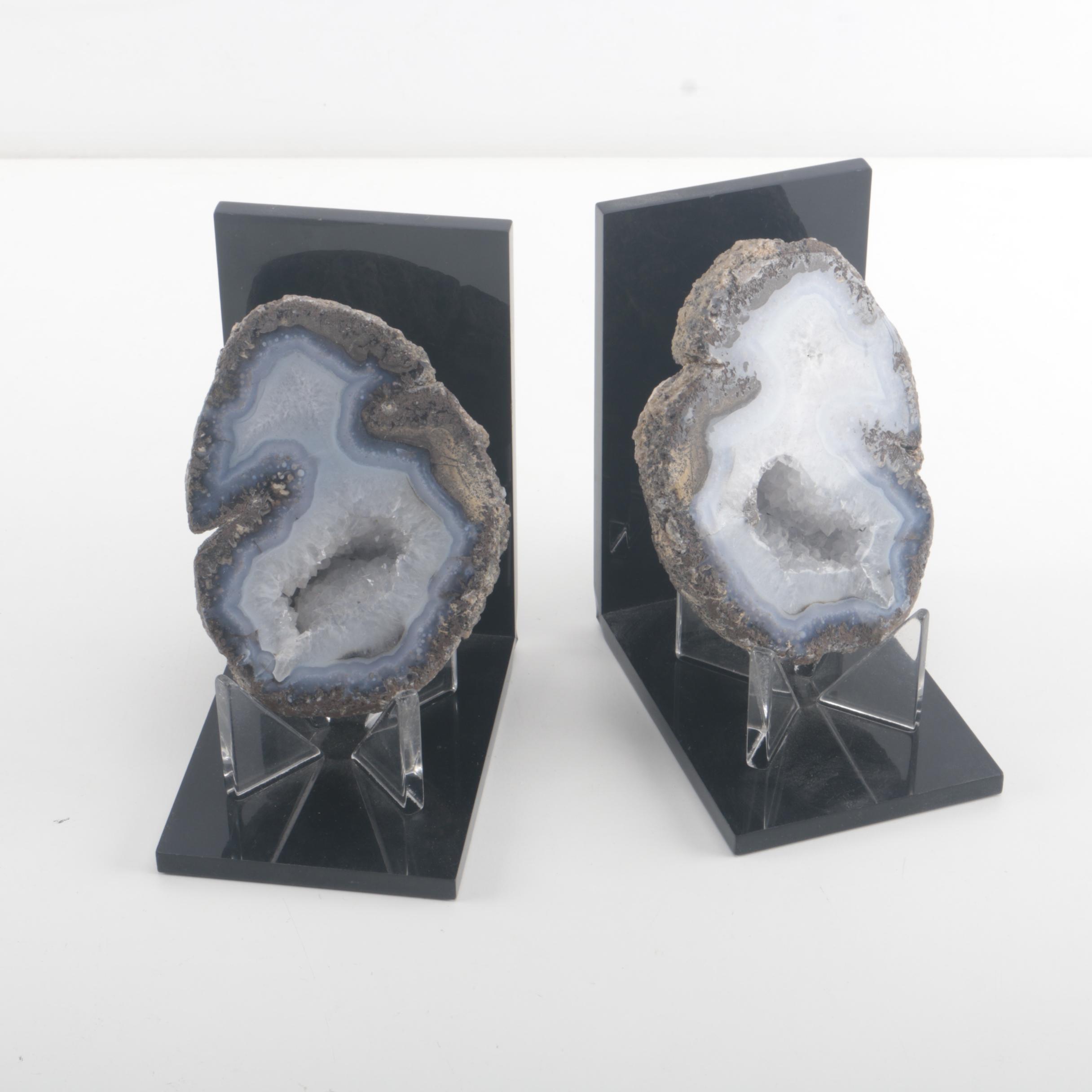 Quartz Geode Bookends