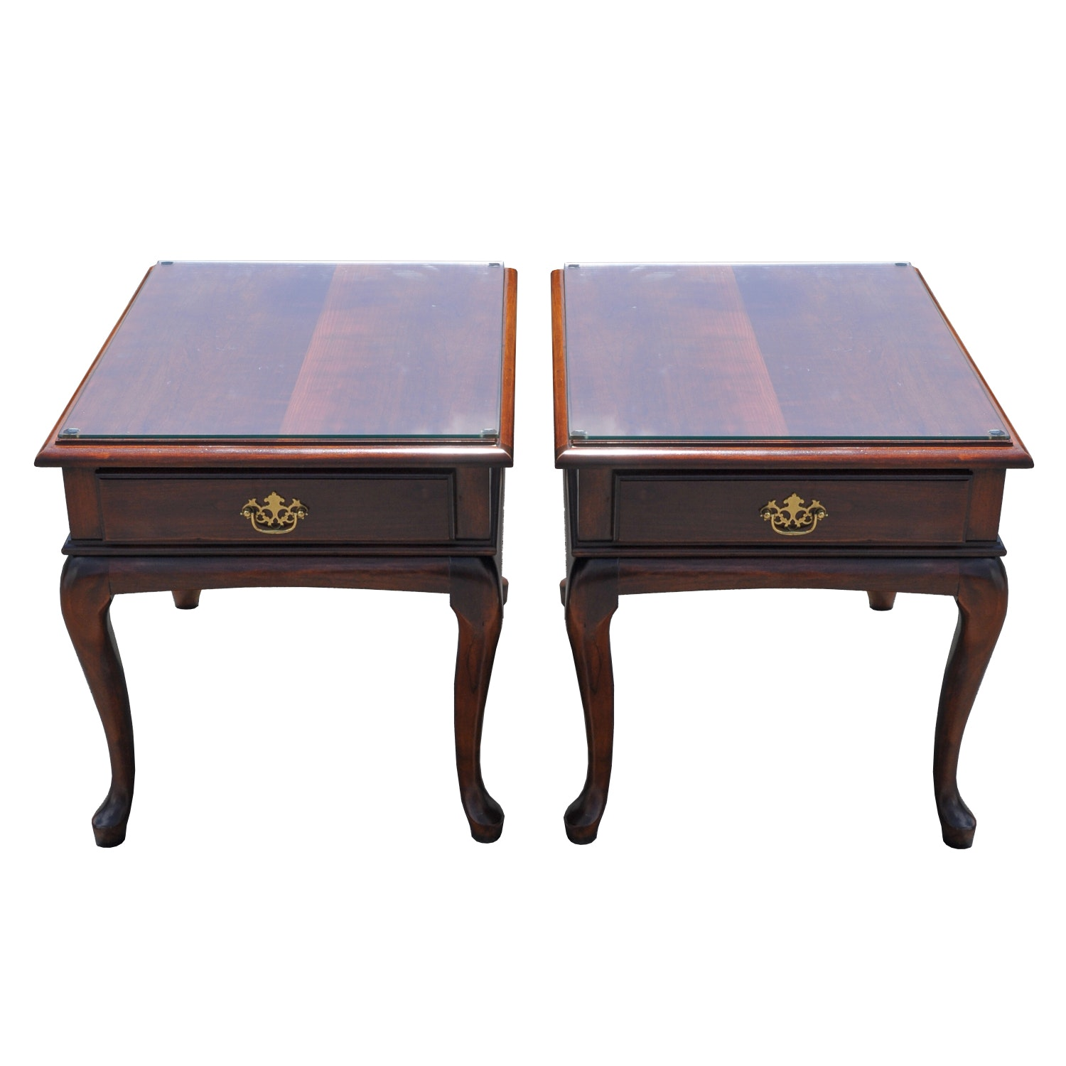 Pair Of Cherry Wood Queen Anne Style Side Tables ...