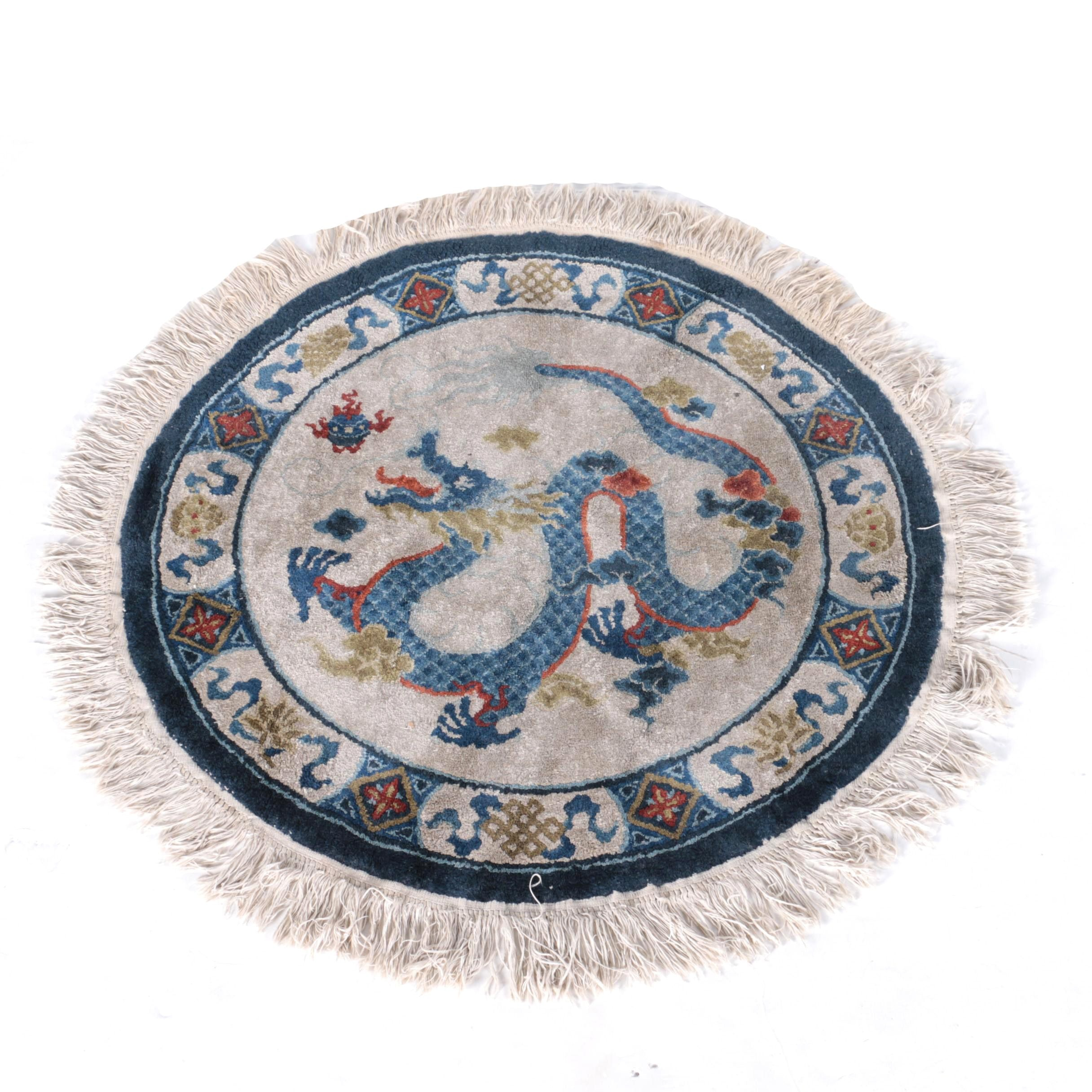 Hand-Knotted Chinese Dragon Round Rug
