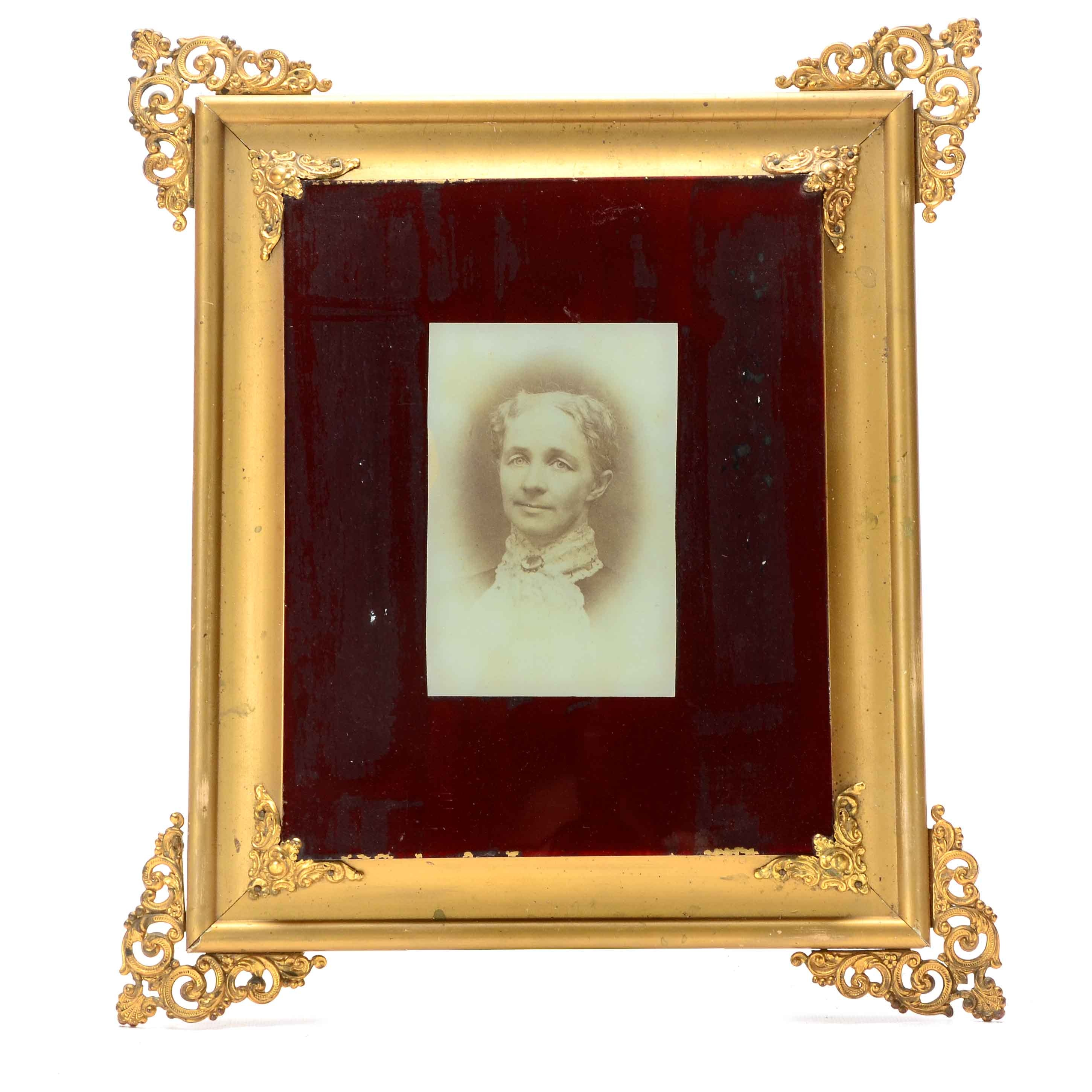 Antique Reverse Glass Silver Gelatin Photographic Portrait