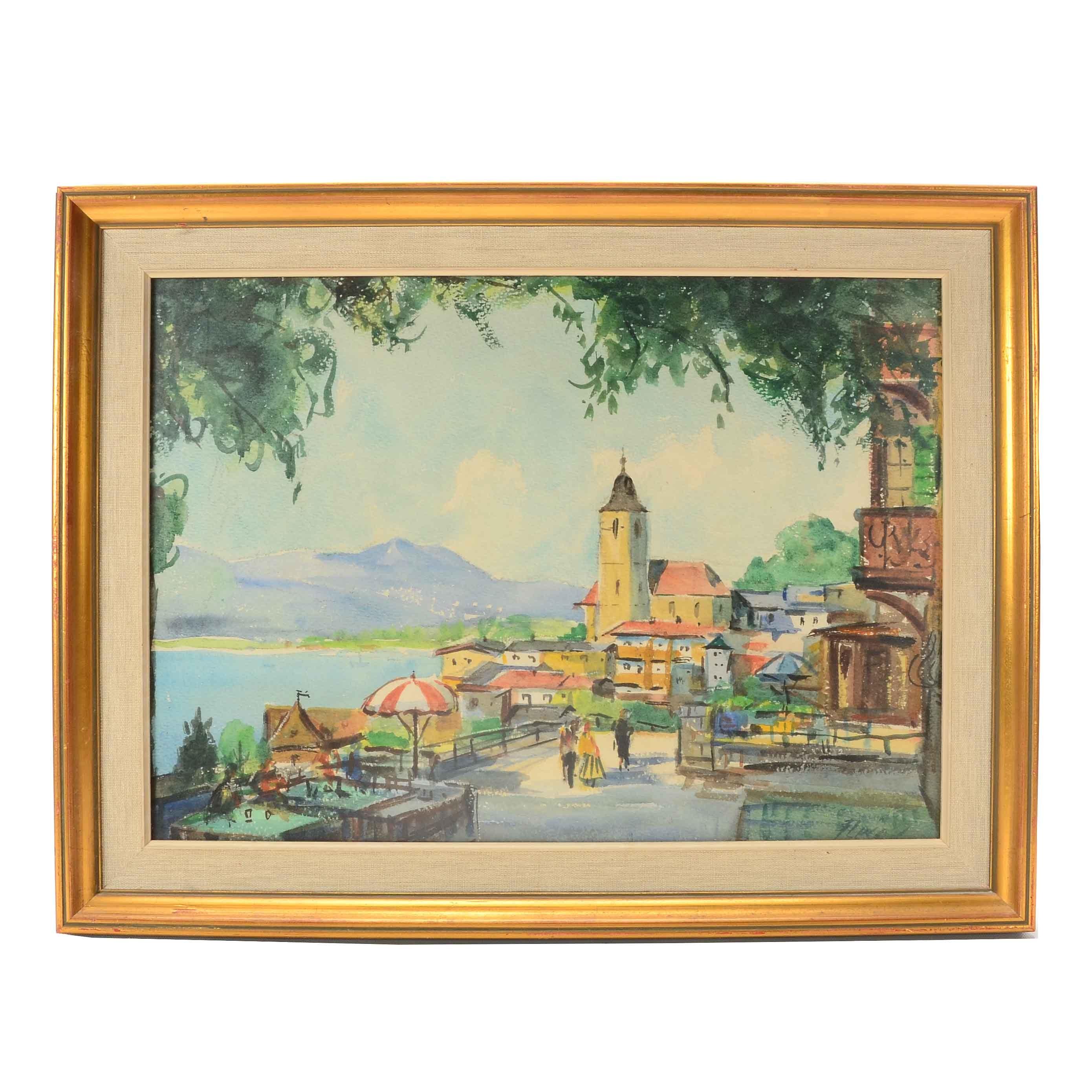 Original Watercolor on Paper Coastal Scene