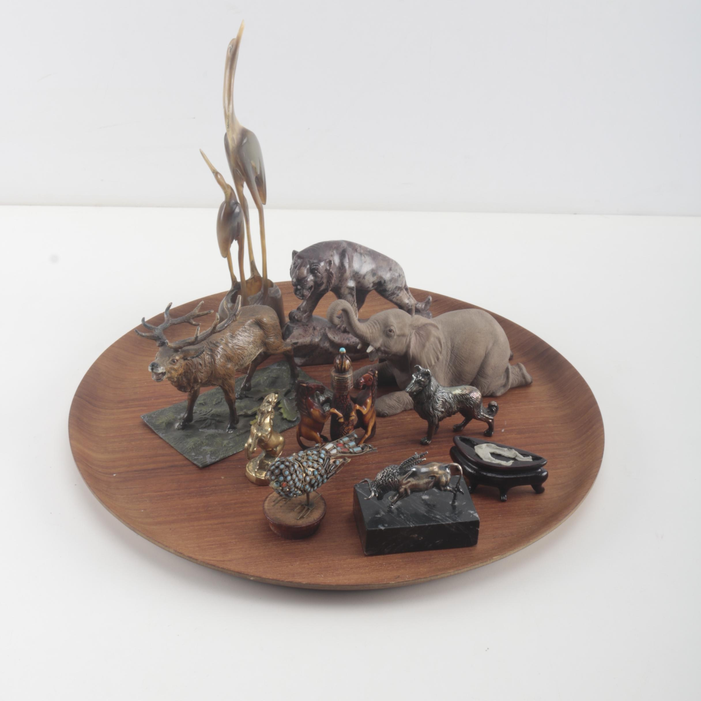 Assorted Animal Figurines With Wood Tray