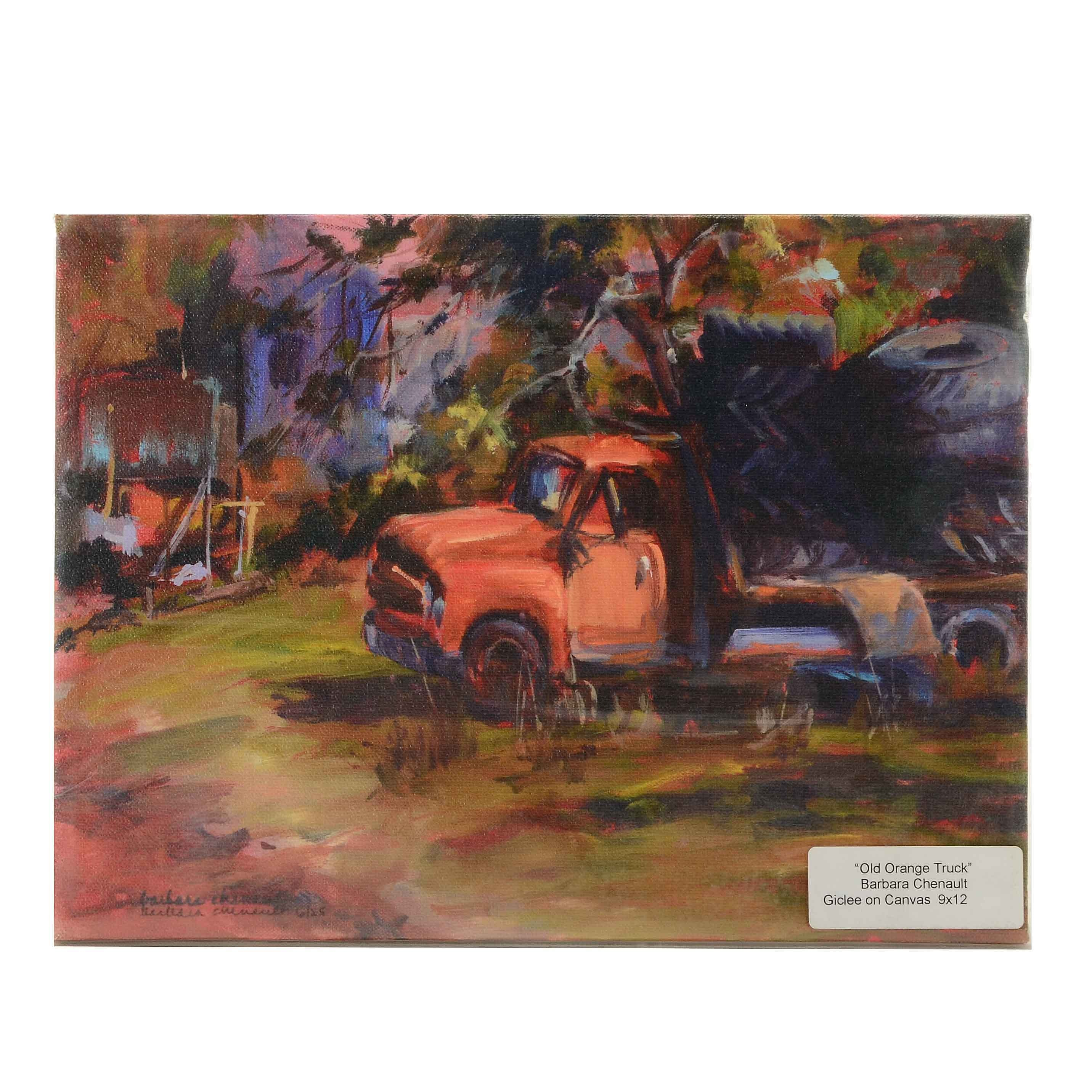 "Barbara Chenault Signed Limited Edition Giclee on Canvas ""Old Orange Truck"""