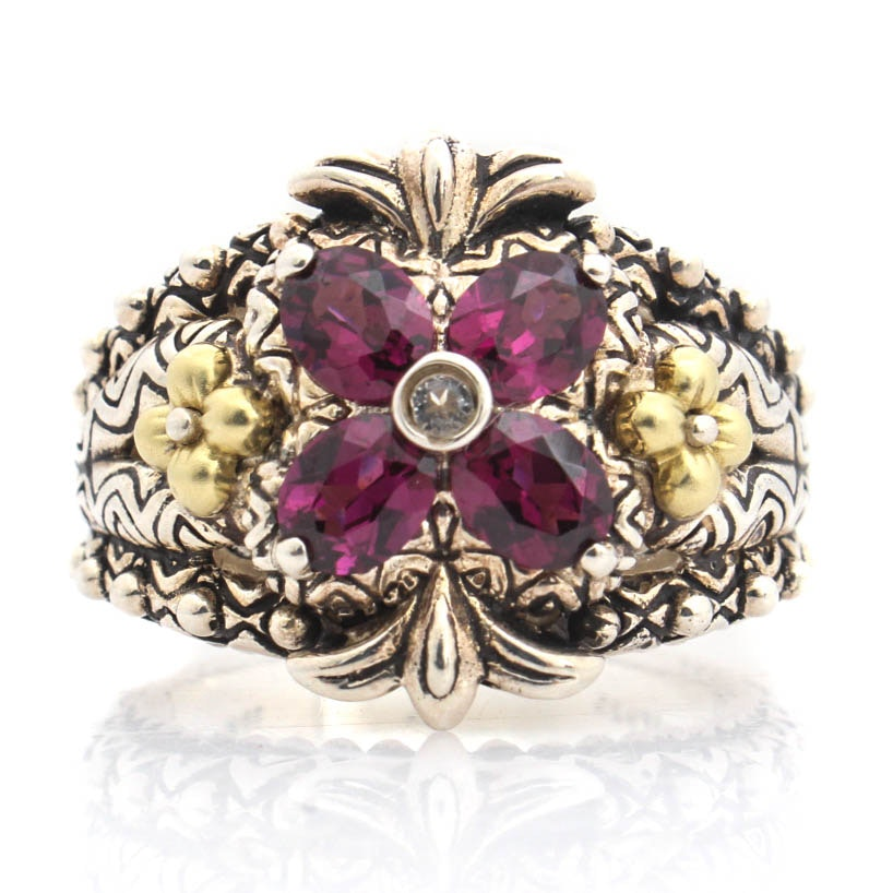 Barbara Bixby Sterling Silver 18K Yellow Gold and Rhodolite Garnet Ring