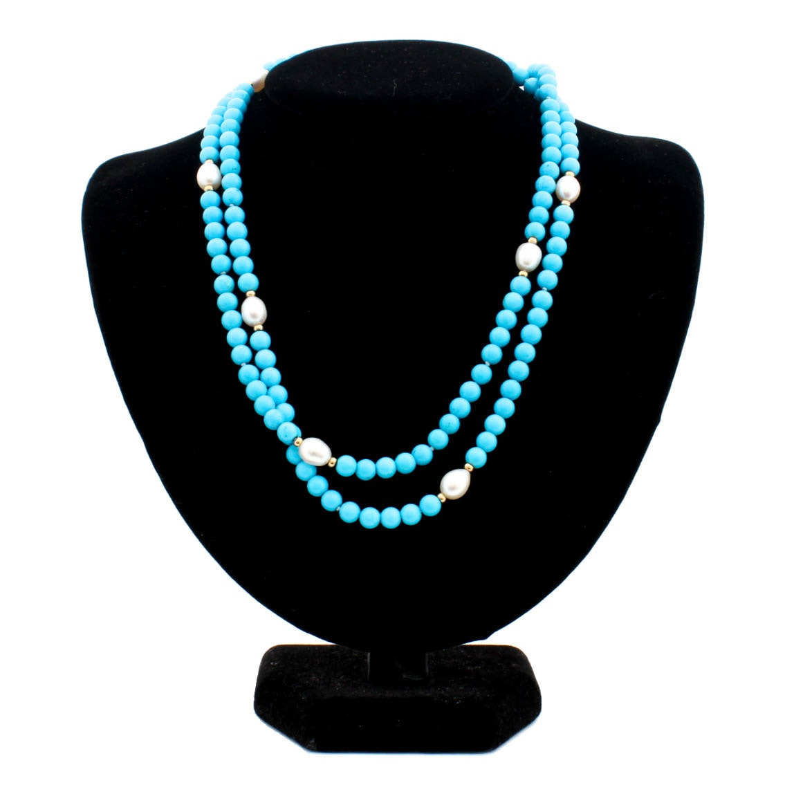 14K Yellow Gold Cultured Pearl and Dyed Turquoise Necklace